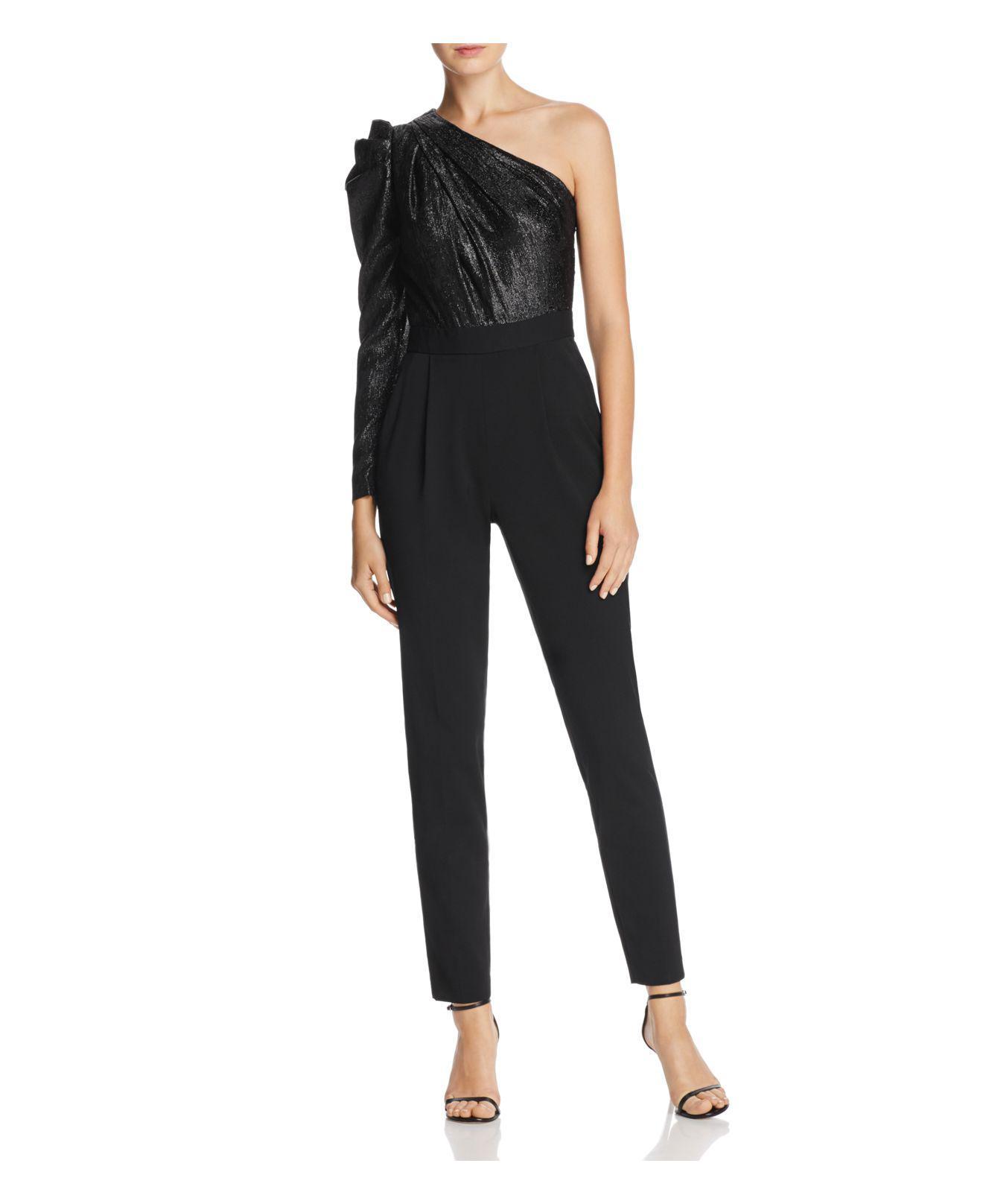 0f6a9e6844db Michael Kors Shine One-shoulder Jumpsuit in Black - Lyst