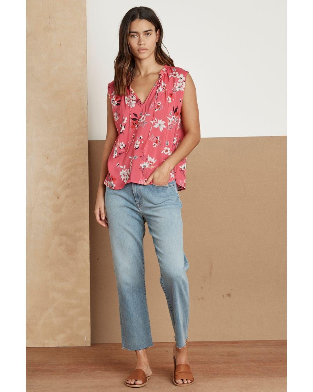 3a9c4070fe7a9a Lyst - Velvet By Graham & Spencer Edeline Floral Sleeveless Blouse in Pink
