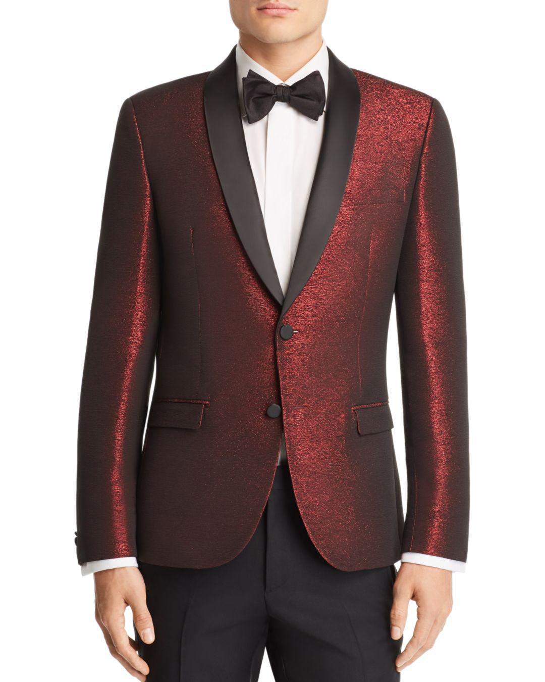 c6e9cbe8 HUGO - Red Arti Sparkle Slim Fit Tuxedo Jacket for Men - Lyst. View  fullscreen