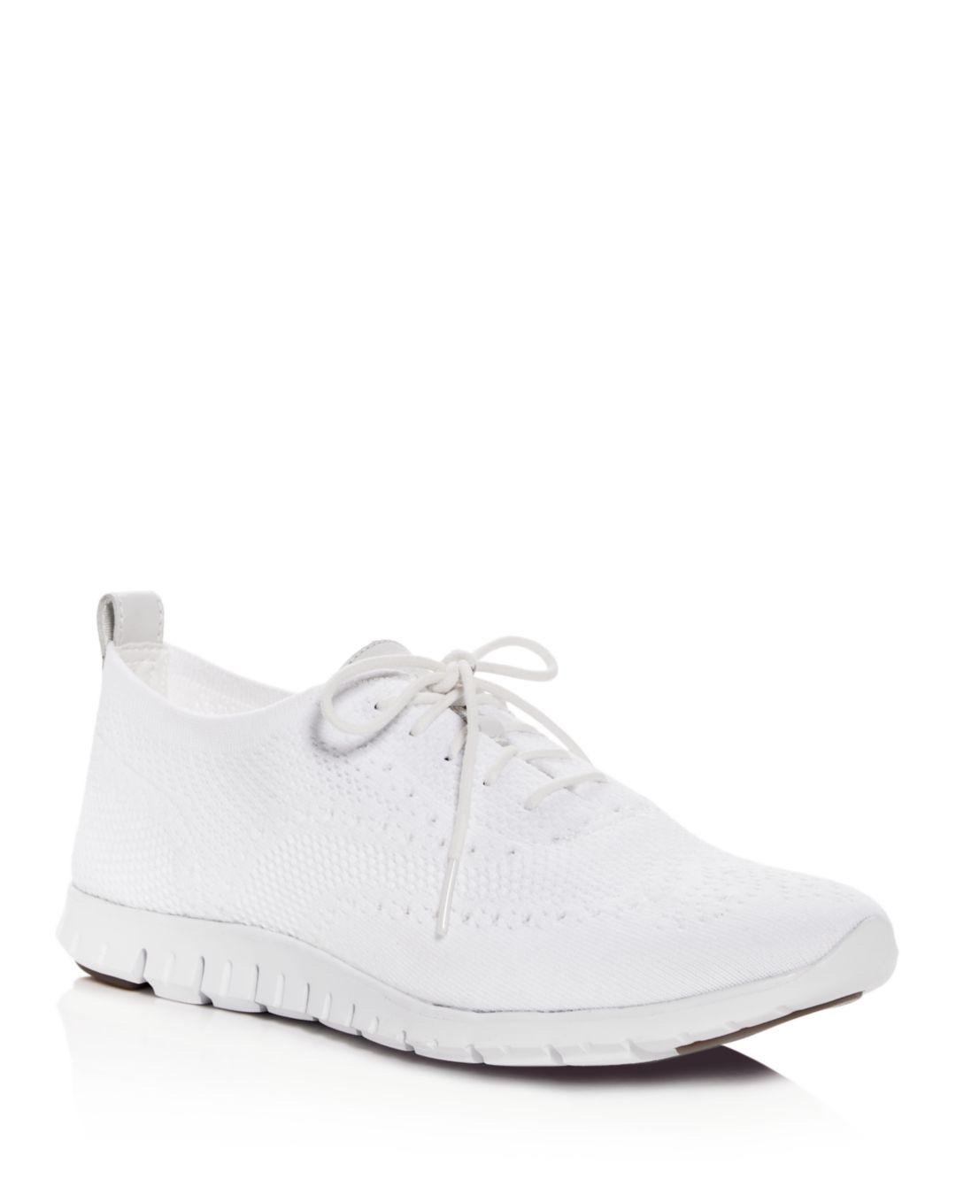 7a46b72bdb Cole Haan - White Women's Zerogrand Stitchlite Knit Lace - Up Oxford  Sneakers - Lyst. View fullscreen