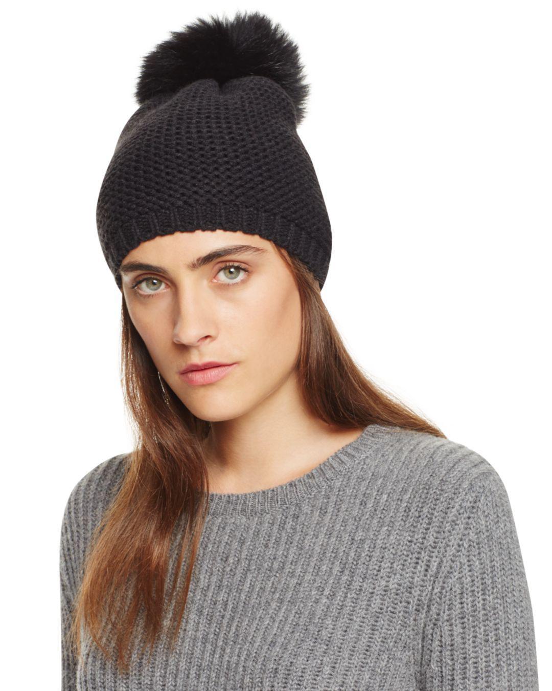 16b8406cb7a7f Kyi Kyi Slouchy Hat With Fox Fur Pom-pom in Black - Lyst