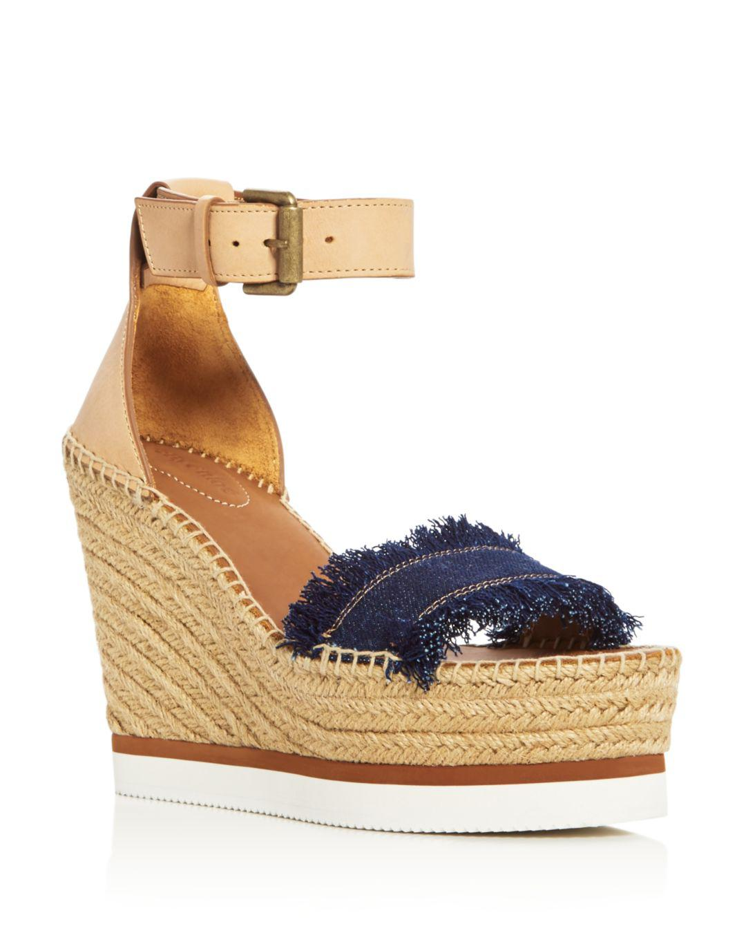 890bf144e578 See By Chloé. Blue Women s Glyn Leather   Frayed Canvas Espadrille Wedge Platform  Sandals - Denim