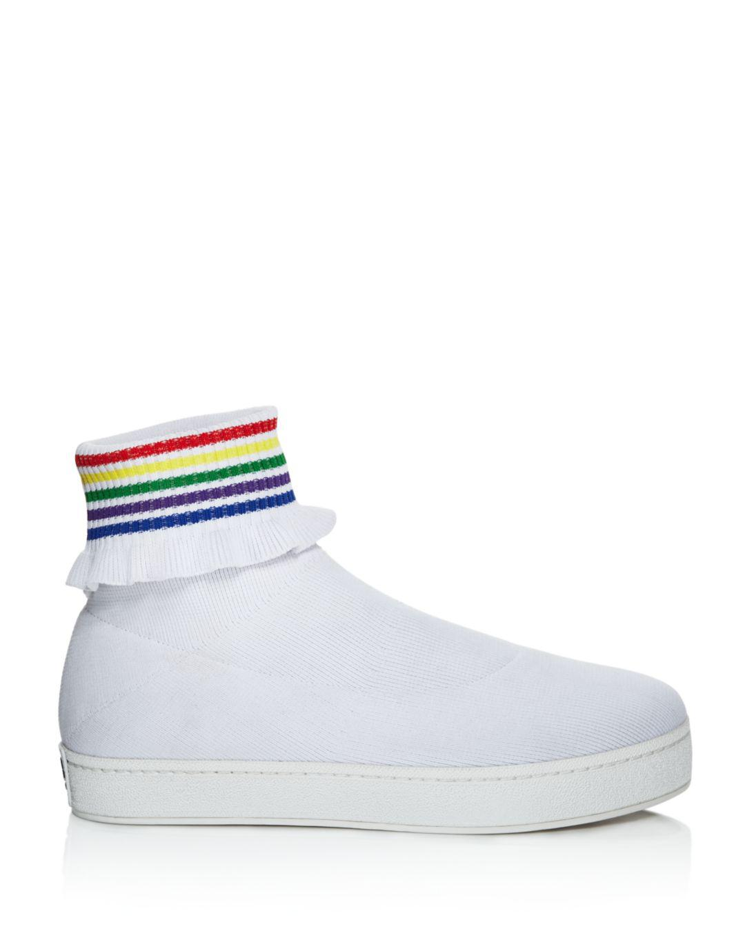 22e72a75dfea Lyst - Opening Ceremony Women s Bobby Ruffled Sock Slip-on Sneakers in White