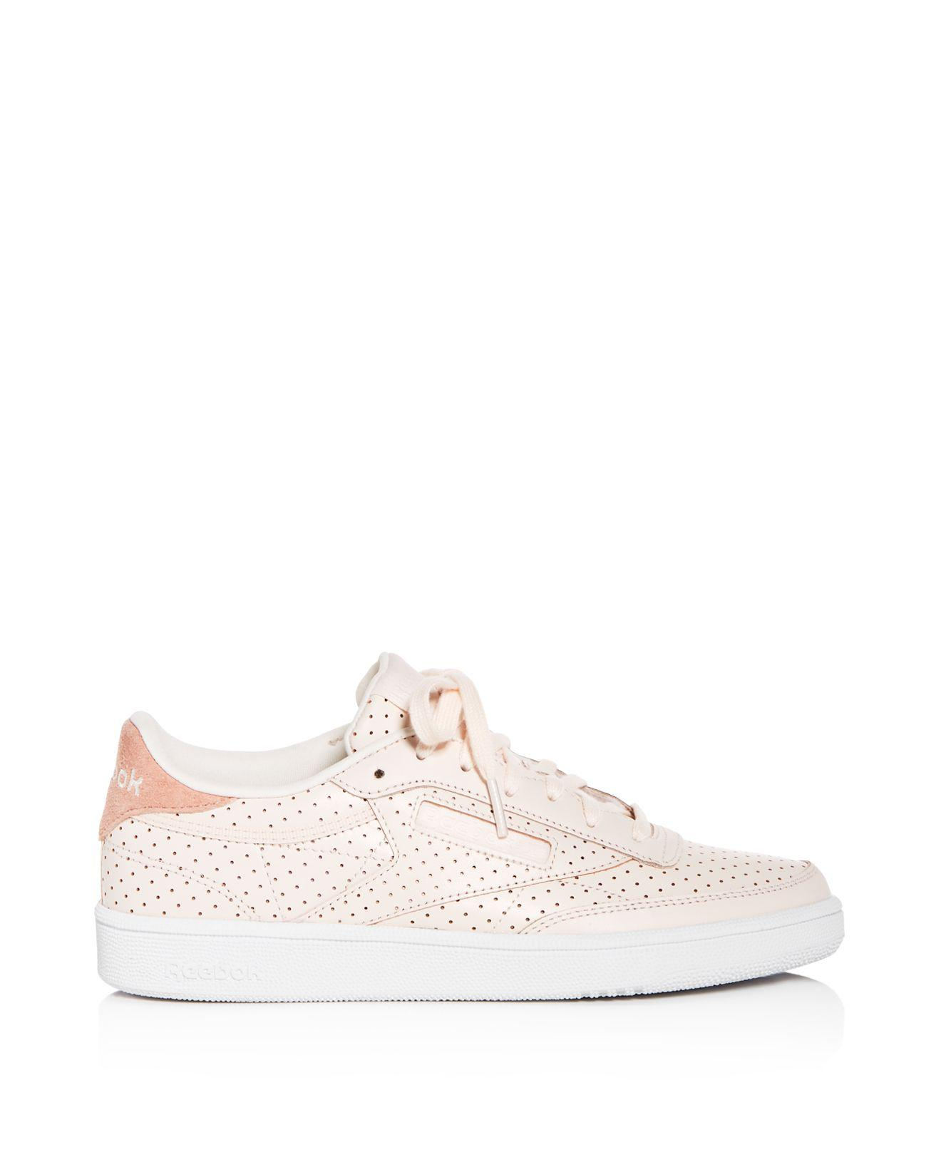 Reebok Women's Club C Popped Perforated Leather Lace Up Sneakers PKfvi6NmP