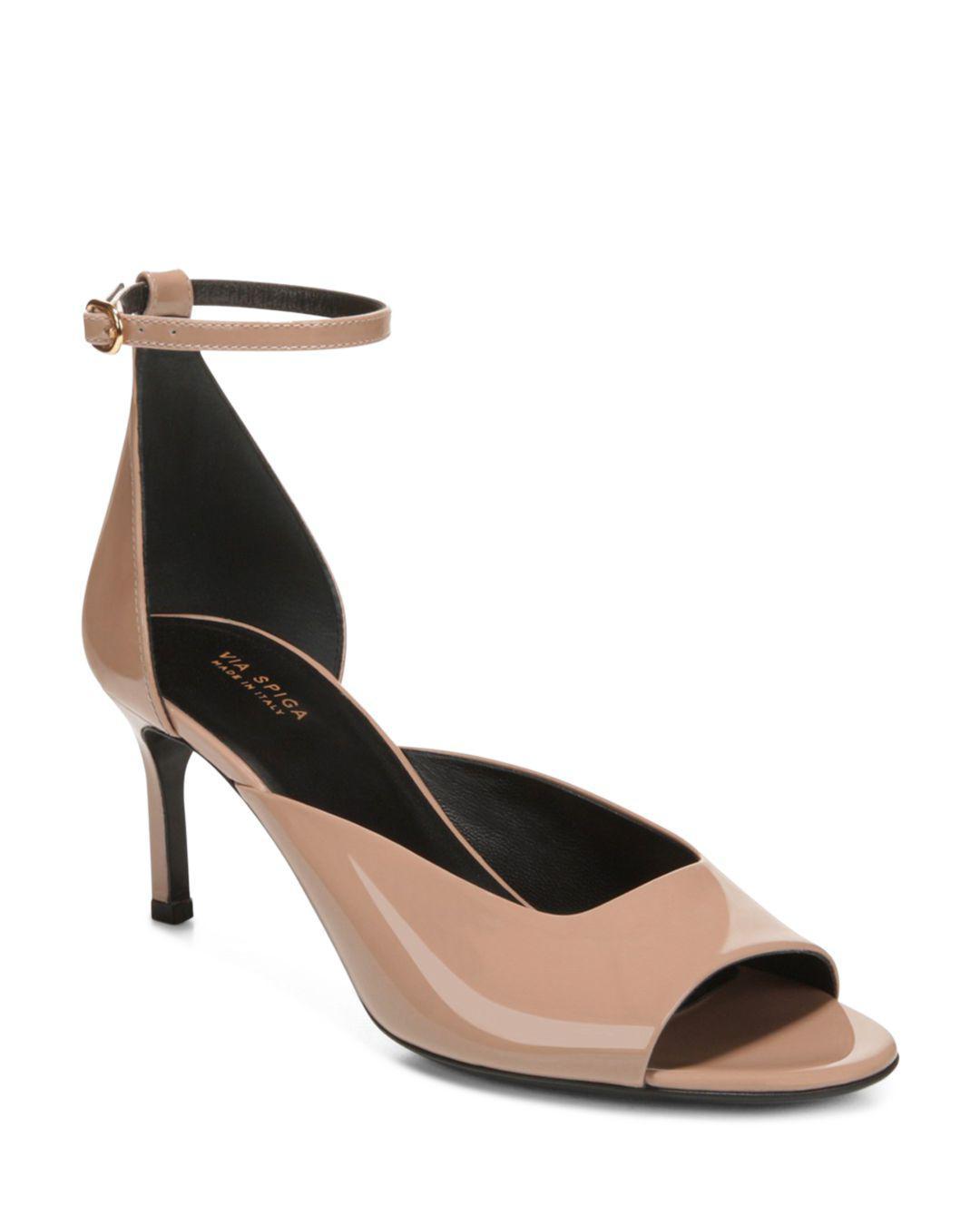 52a6ad121f6a Via Spiga Women s Jennie Patent Leather Mid-heel Sandals - Lyst