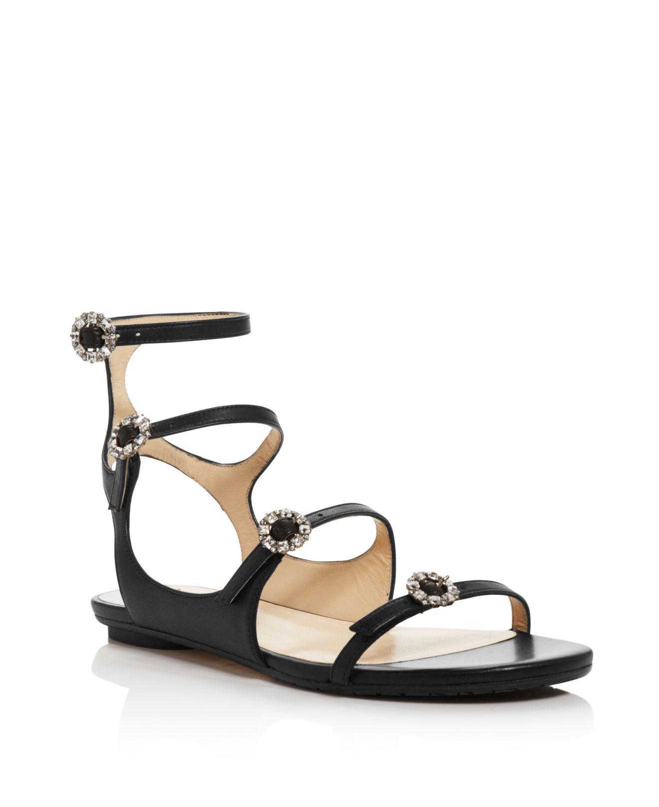 Jimmy choo Women's Naia Embellished Leather Flat Sandals w1MXVrZ0m