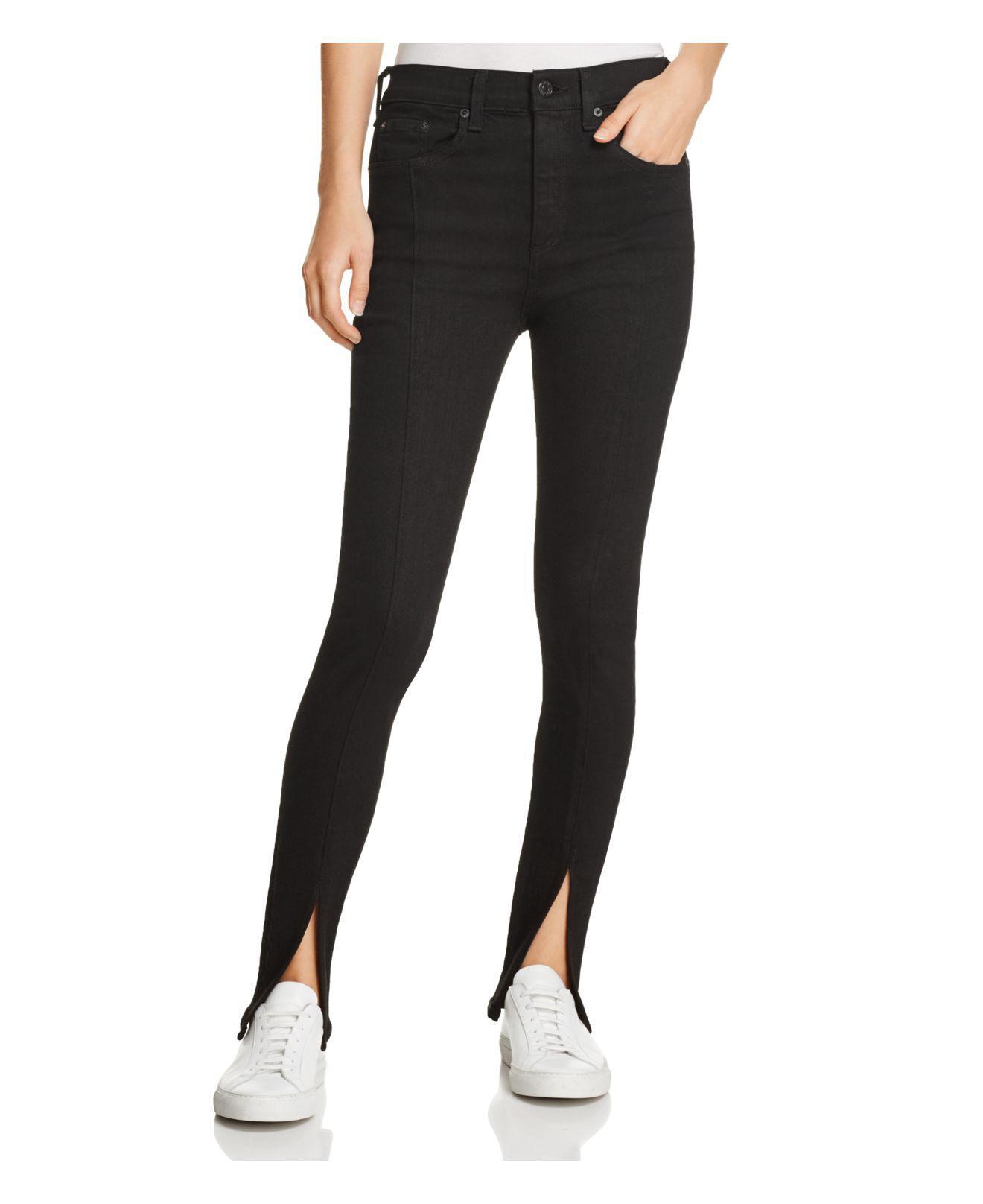 08e5a0678bcdb Rag & Bone Yuki Skinny Split-hem Jeans In Coal Bar in Black - Lyst
