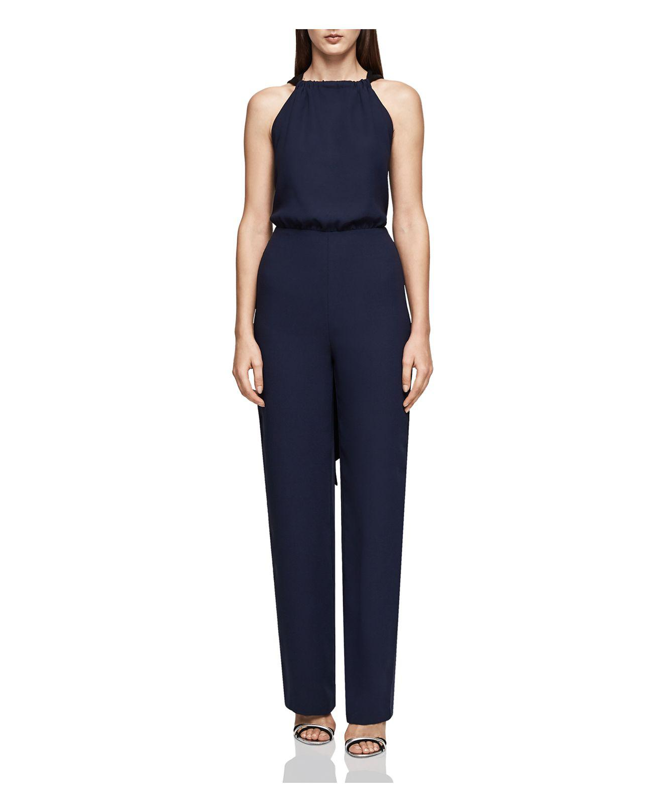 bc138340527 Reiss Lolita Crisscross Back Sash Jumpsuit in Blue - Lyst