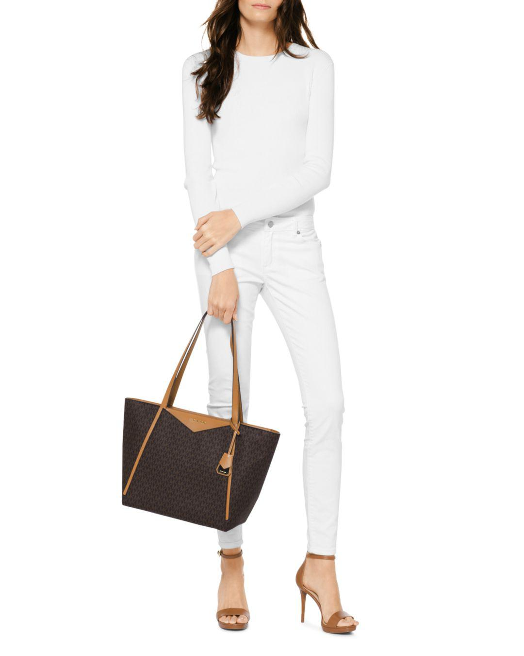 39aa491f627b Lyst - Michael Kors Michael Signature Whitney Large Tote in Brown