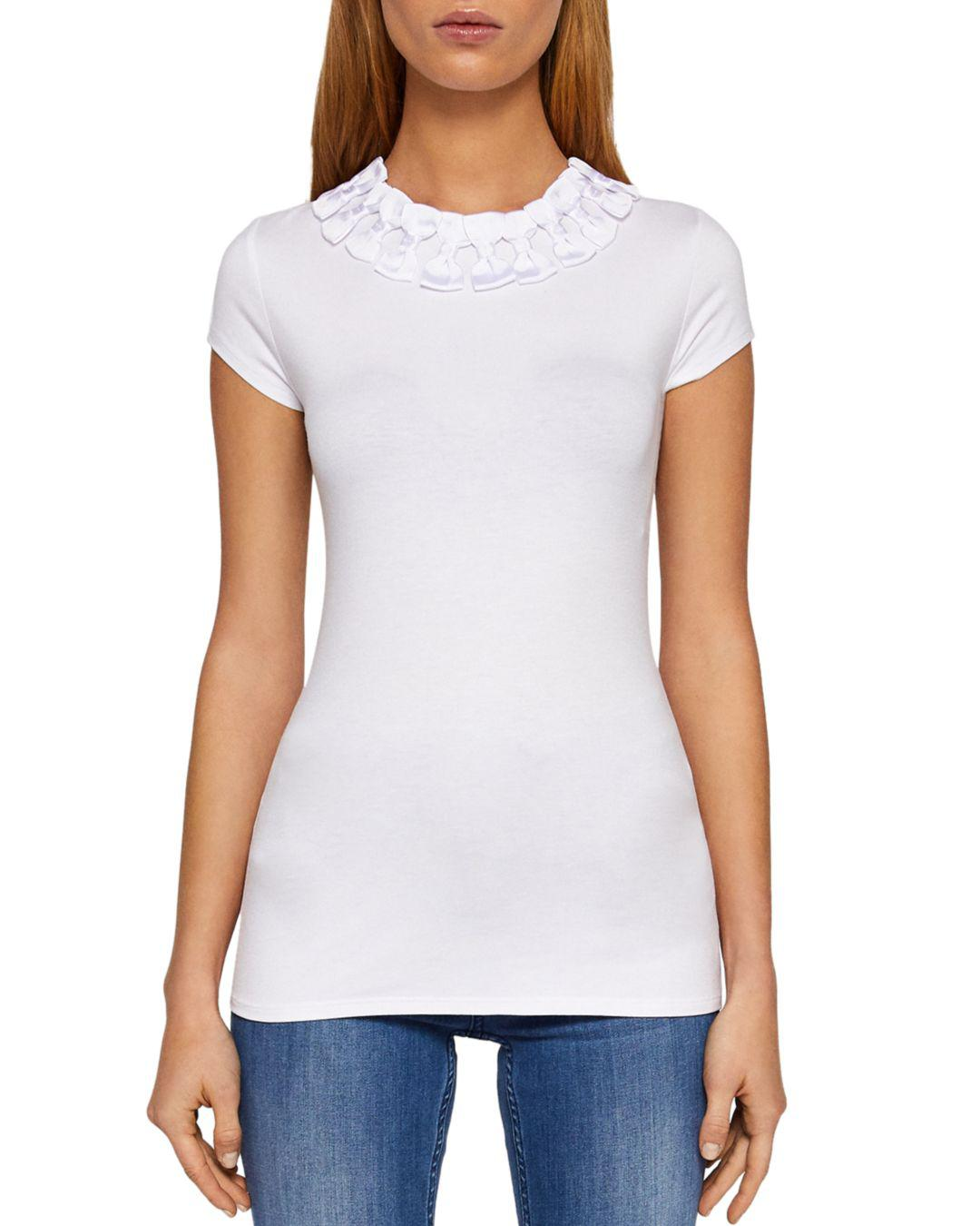 d29b83cb5f5ce Lyst - Ted Baker Charre Bow-trimmed Tee in White