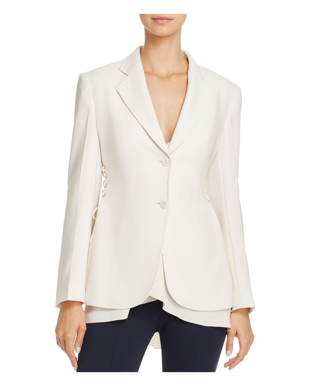 970afee95a3 Theory Admiral Lace-up Crepe Jacket in White - Lyst