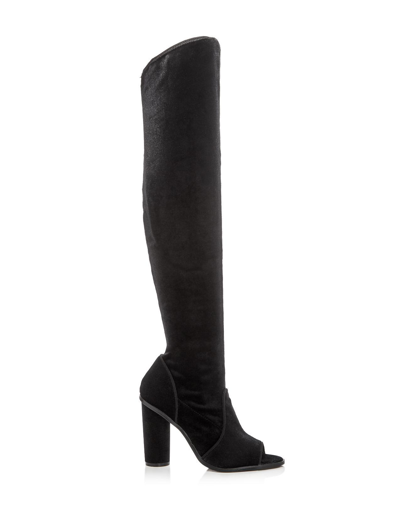 JAGGAR Women's Velvet Peep Toe Over-the-Knee Boots 0wuzhHI3Qb
