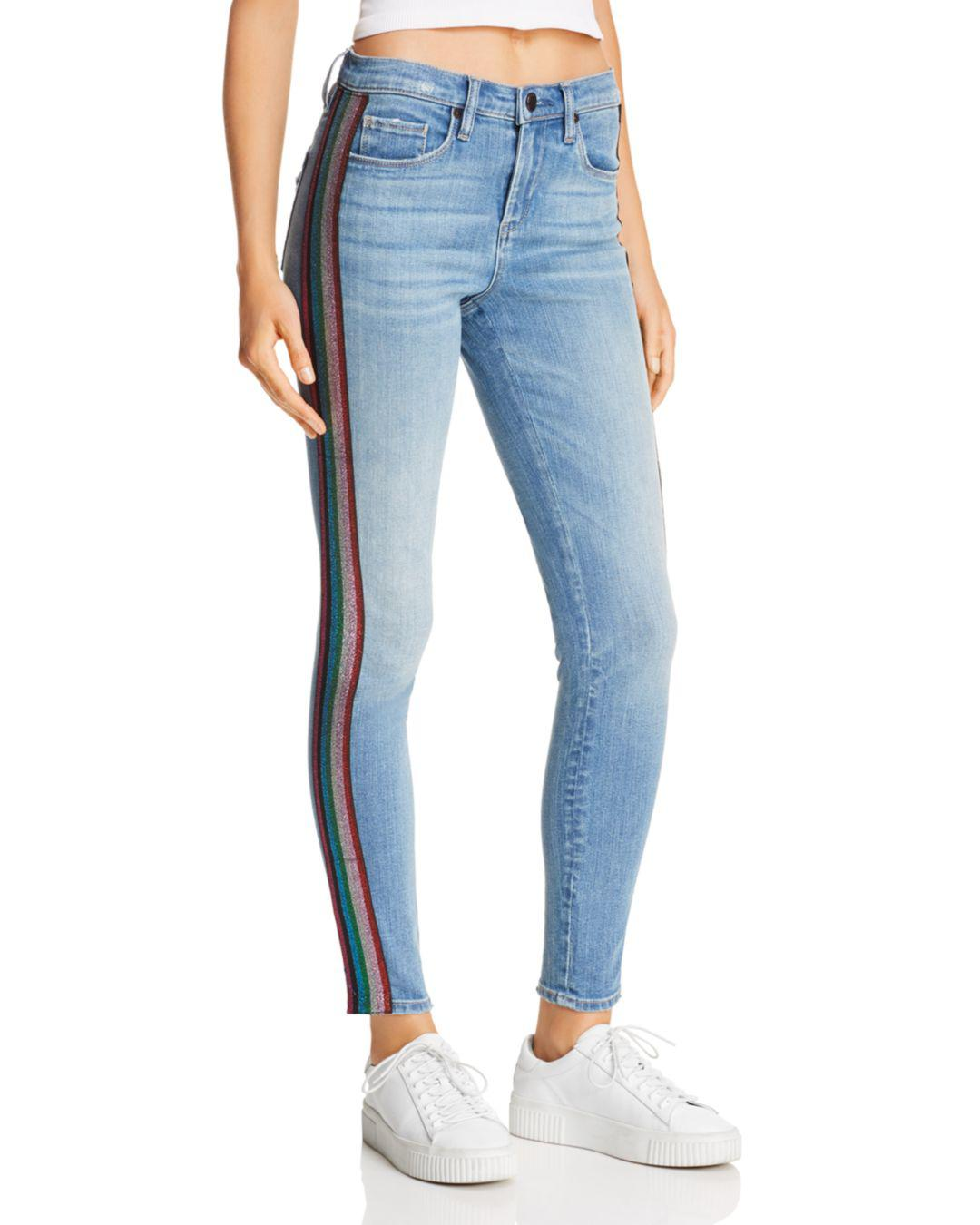 9b1589c501d Lyst - Blank NYC Glitter-striped High-rise Skinny Jeans In ...