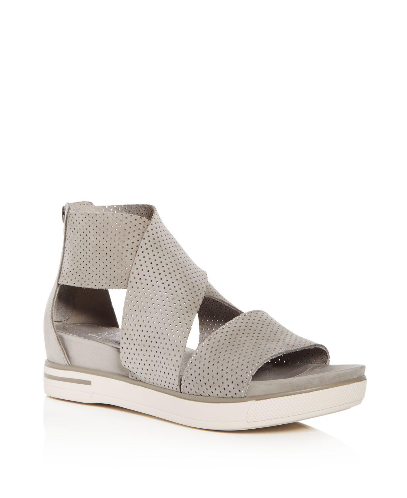 Eileen Fisher Women's Perforated Nubuck Leather Crisscross Platform Sandals daxZel