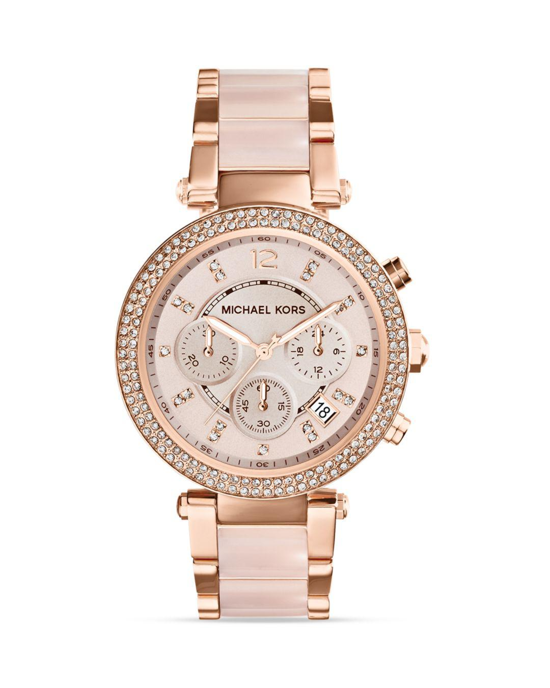 16ef65580c8d Michael Kors - Pink Mid-size Rose Golden Stainless Steel Parker Chronograph  Glitz Watch -. View fullscreen