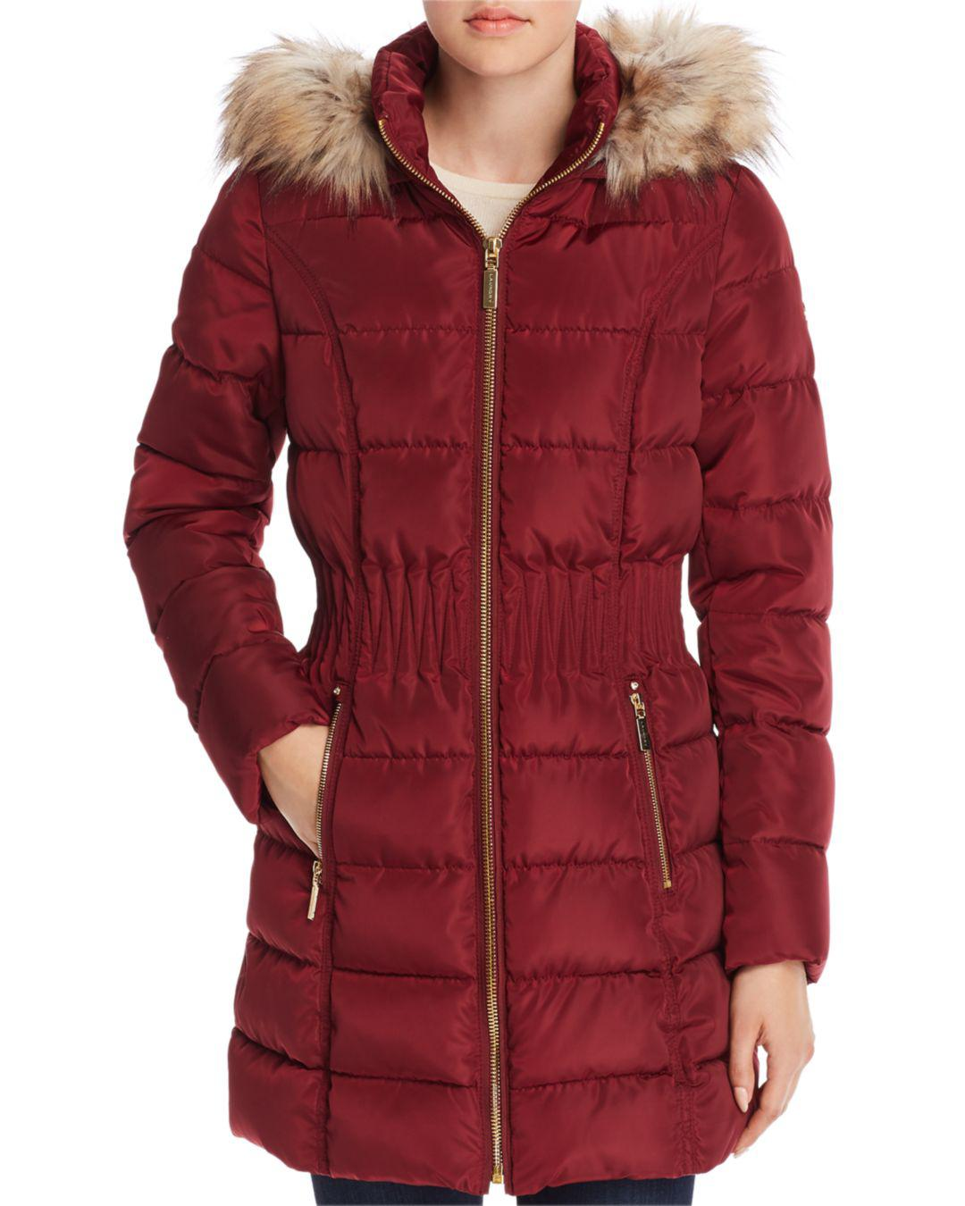 Laundry By Shelli Segal Windbreaker Faux Fur Trim Cinched