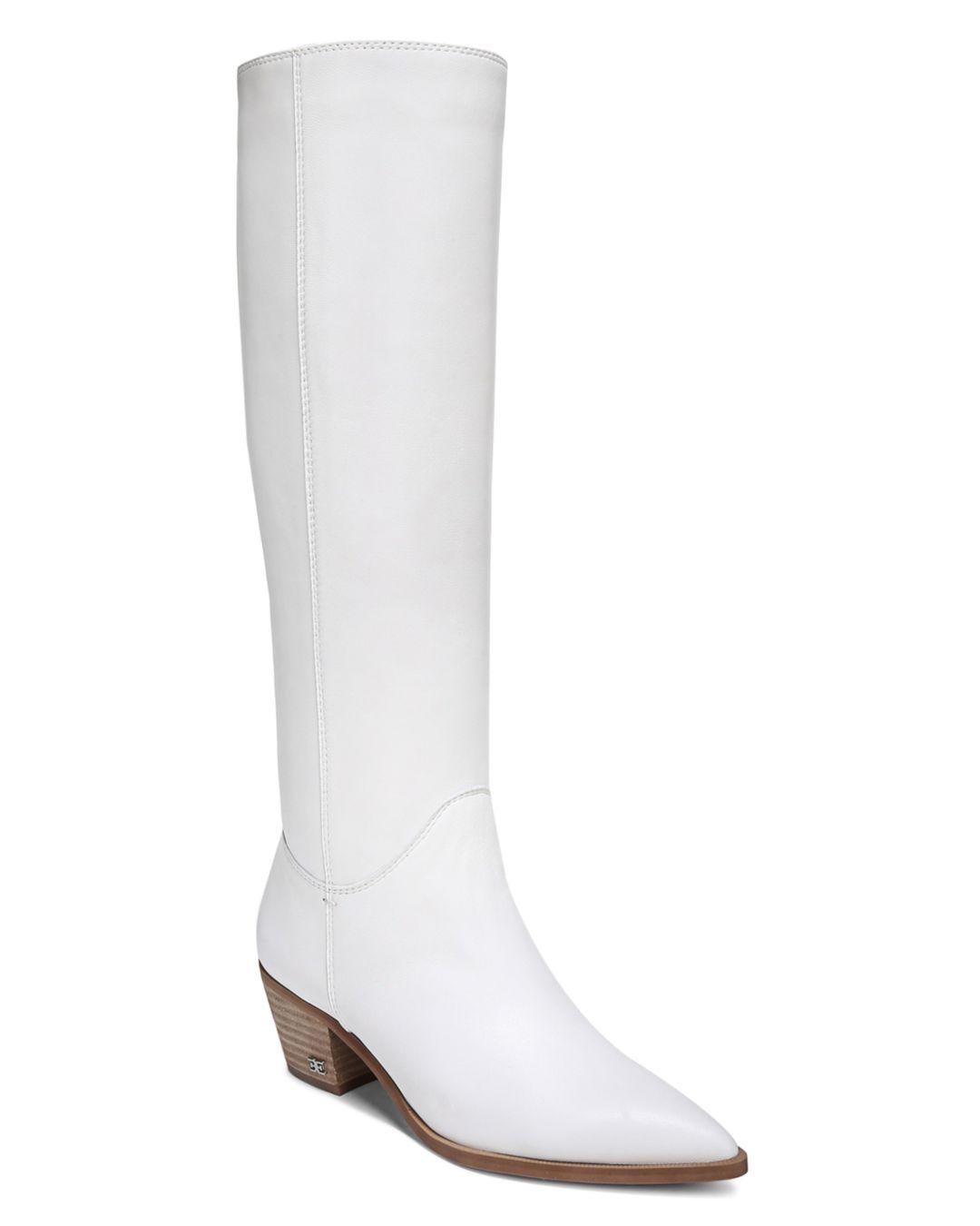 d248368247f1 Sam Edelman Women s Rowena Tall Slouchy Leather Boots in White - Lyst