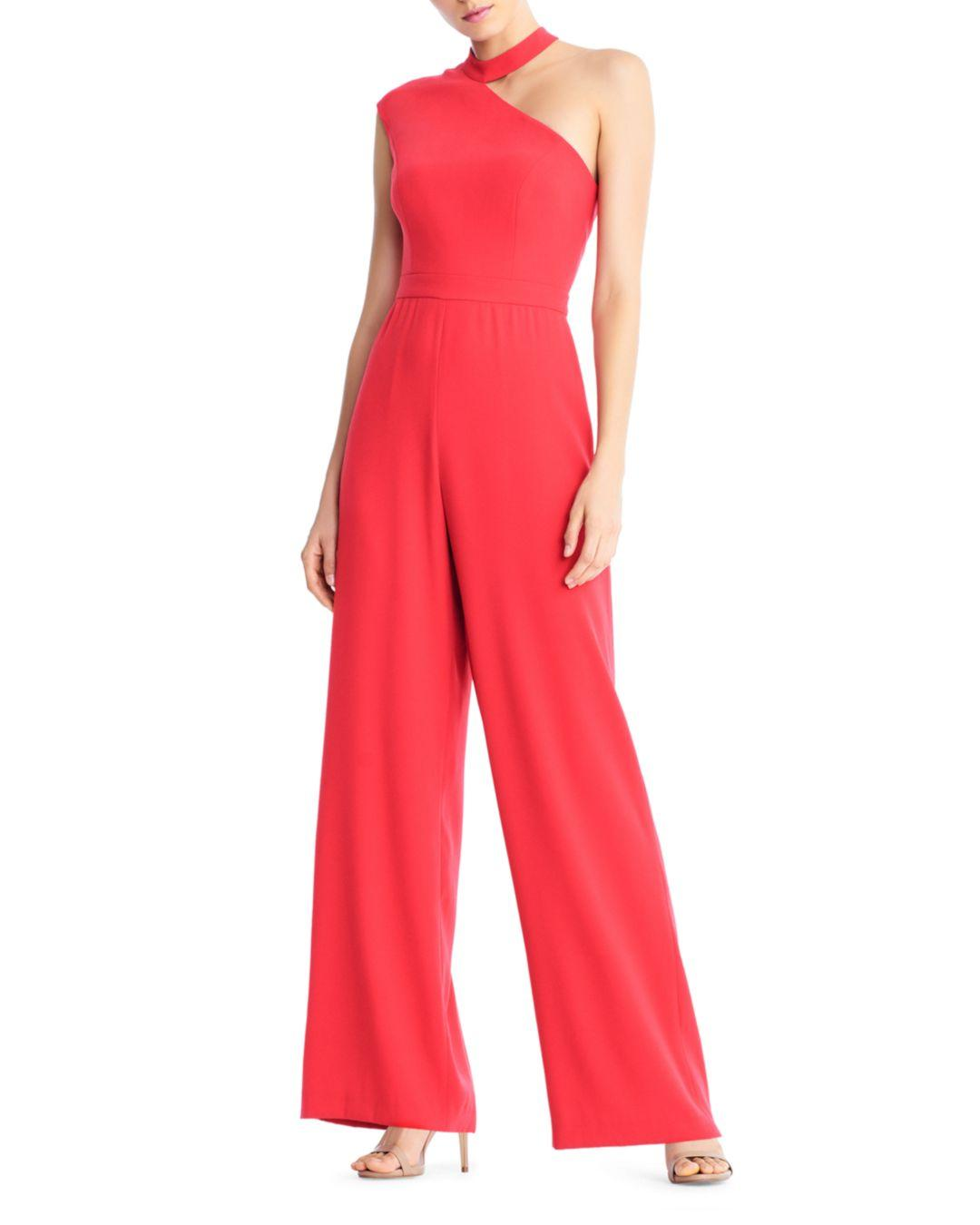 7efb84111c5 Lyst - Aidan By Aidan Mattox Crepe One-shoulder Jumpsuit in Red