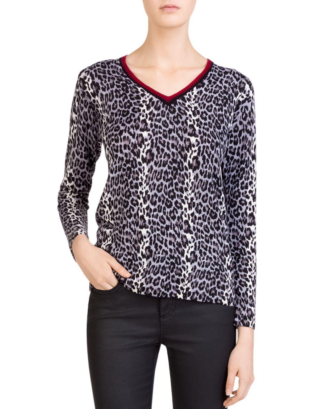 95144b87b Lyst - Gerard Darel Cali Merino-wool Leopard-print Sweater in Gray