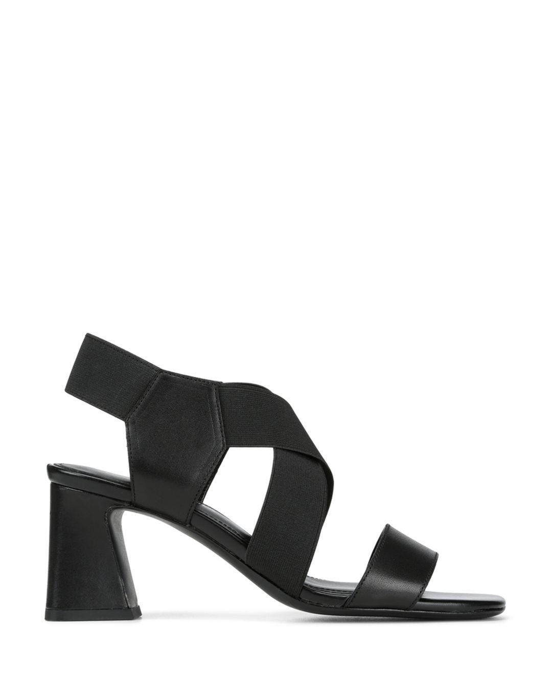 375a674ac2a3 Donald J Pliner Vikki Leather   Stretch Dress Block Heel Sandals in Black -  Lyst