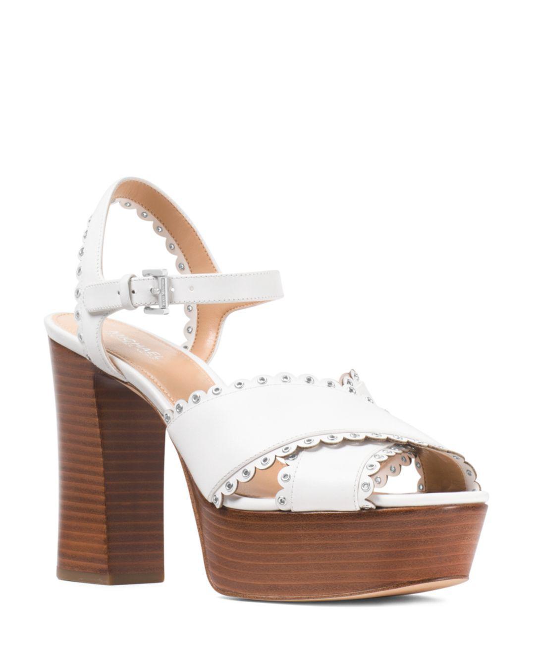 62c23ea0e7f Lyst - MICHAEL Michael Kors Women s Jessie Scalloped Leather ...