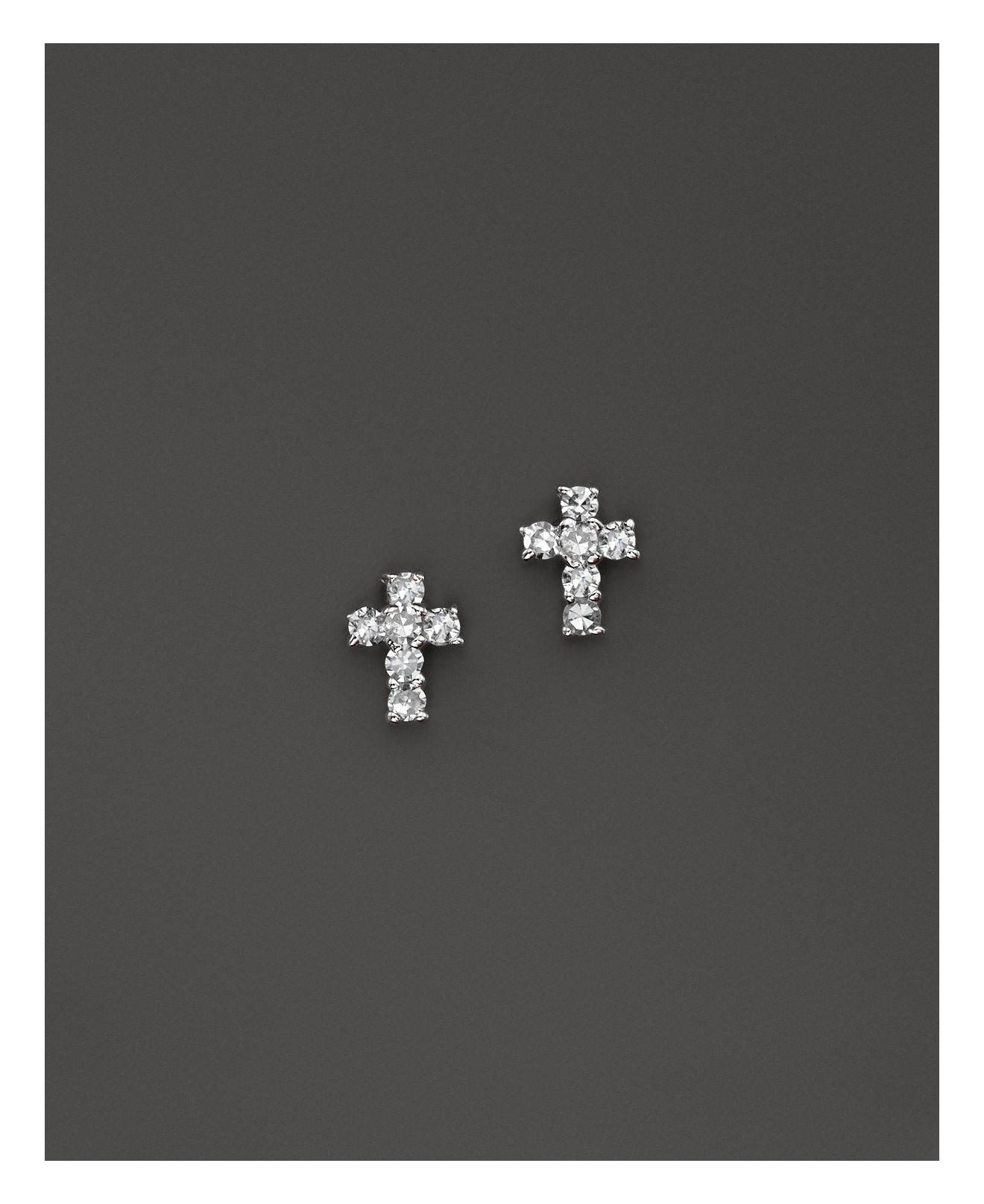 ml sterling cross silver earrings studs bling crucifix stud micropave az small little jewelry