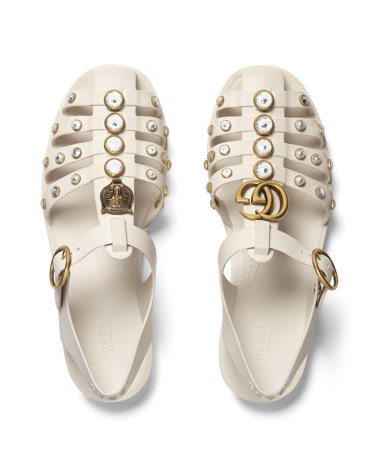bdc08289940 Lyst - Gucci Rubber Sandal With Crystals