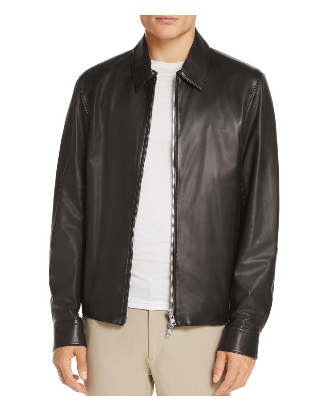 Lyst theory leather shirt jacket in black for men for Leather jacket and shirt