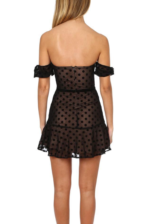 8b4088134c Lyst - For Love   Lemons Dotty Strapless Dress in Black