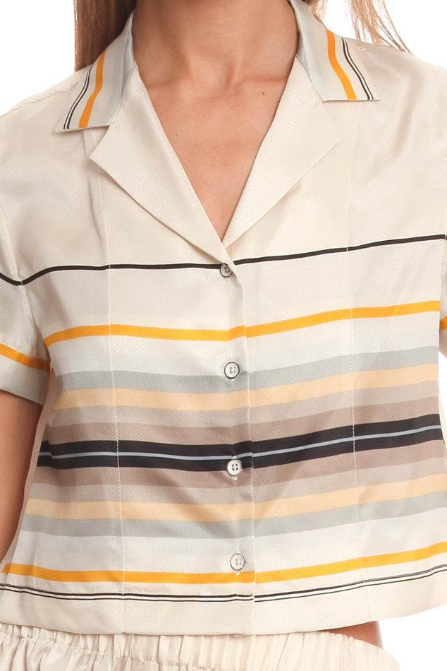 6a80f794 Rag & Bone Cropped League Shirt in Pink - Lyst