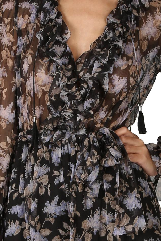 6831126ded Lyst - Zimmermann Stranded Ruffle Playsuit Blk lavender Flora in Black