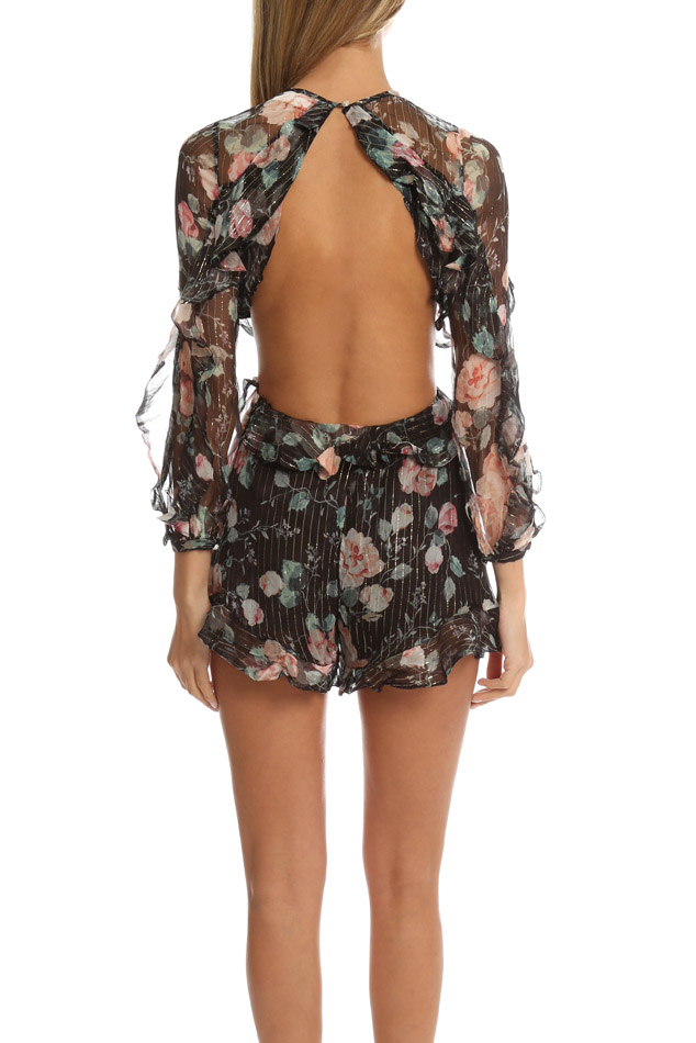 c57acb6011 Lyst - Zimmermann Master Flute Playsuit in Black