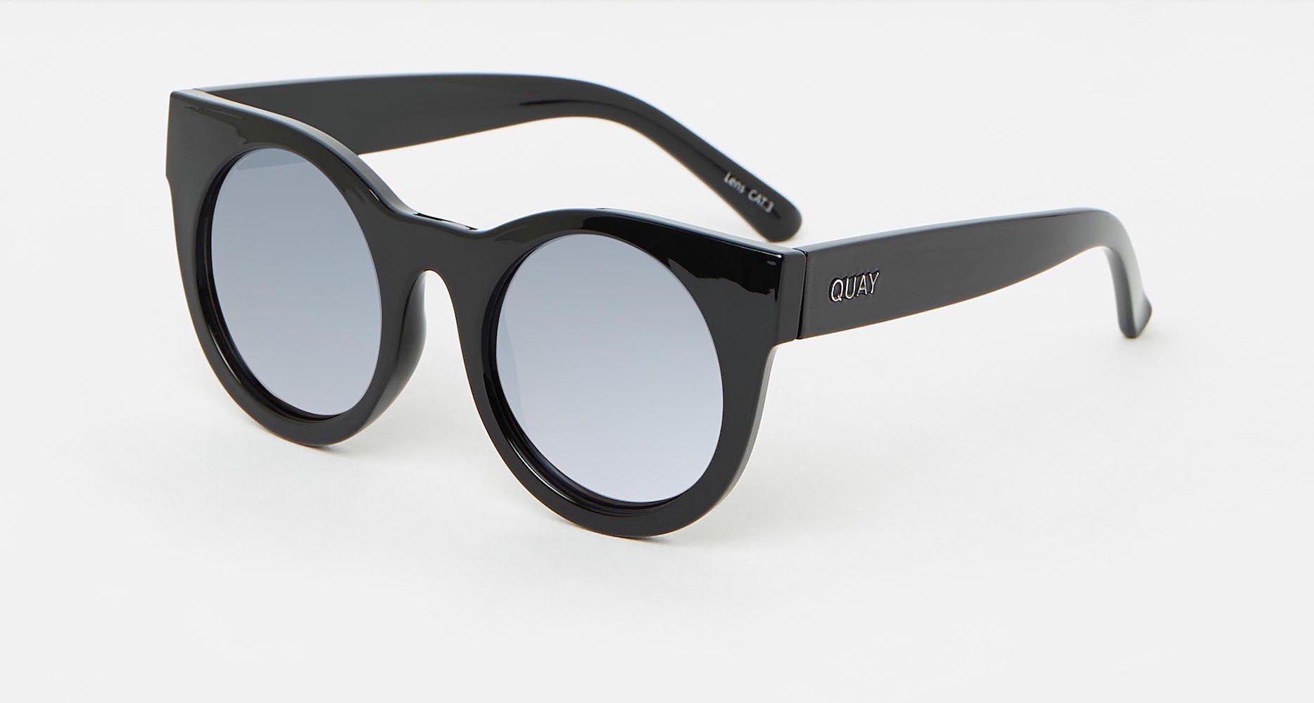 66b27f76cba Lyst - Quay Right Time Black   Lilac Mirror Sunglasses in Black