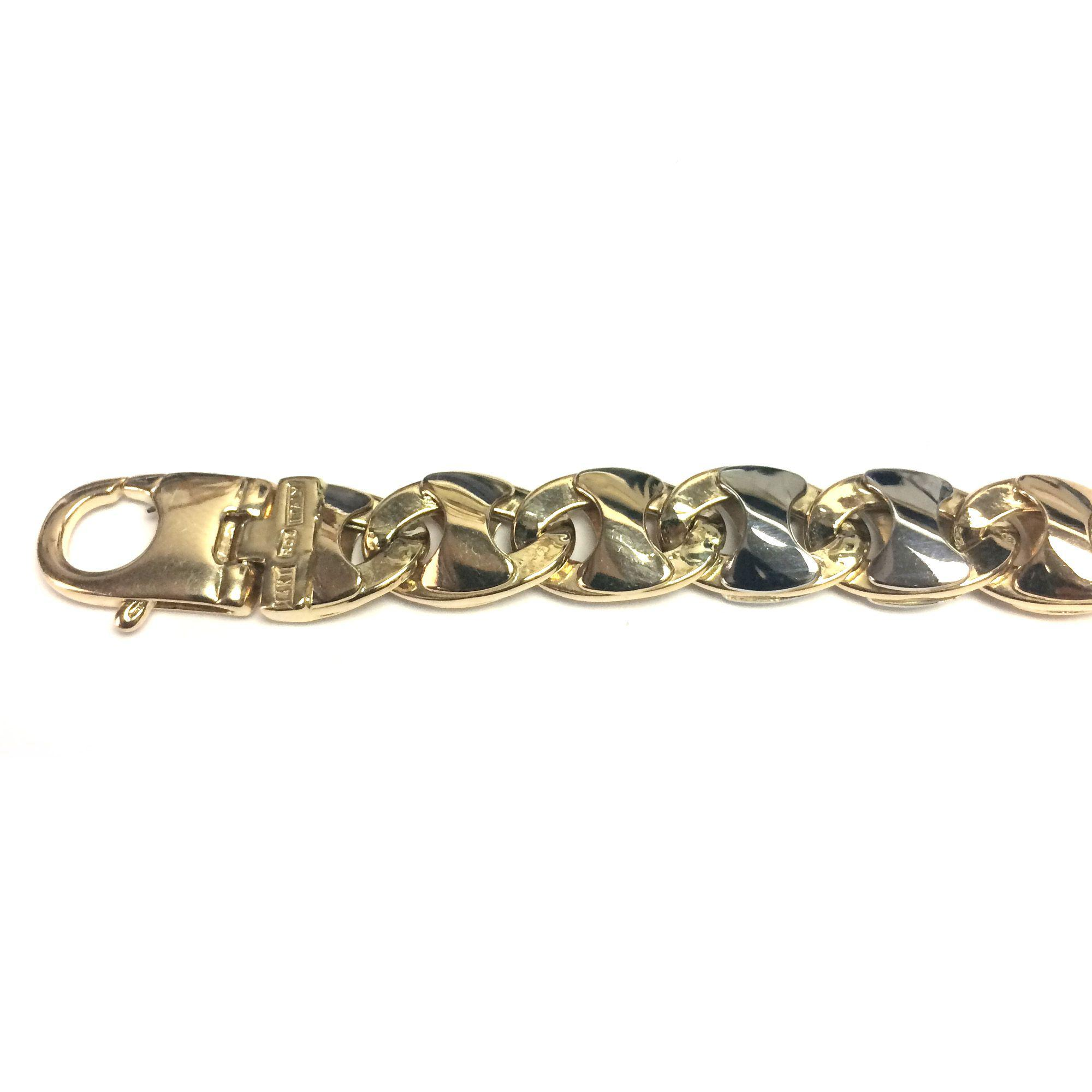 fa1a32f4c Lyst - Jewelryaffairs 14k Yellow And White Gold Mariner Link Mens ...