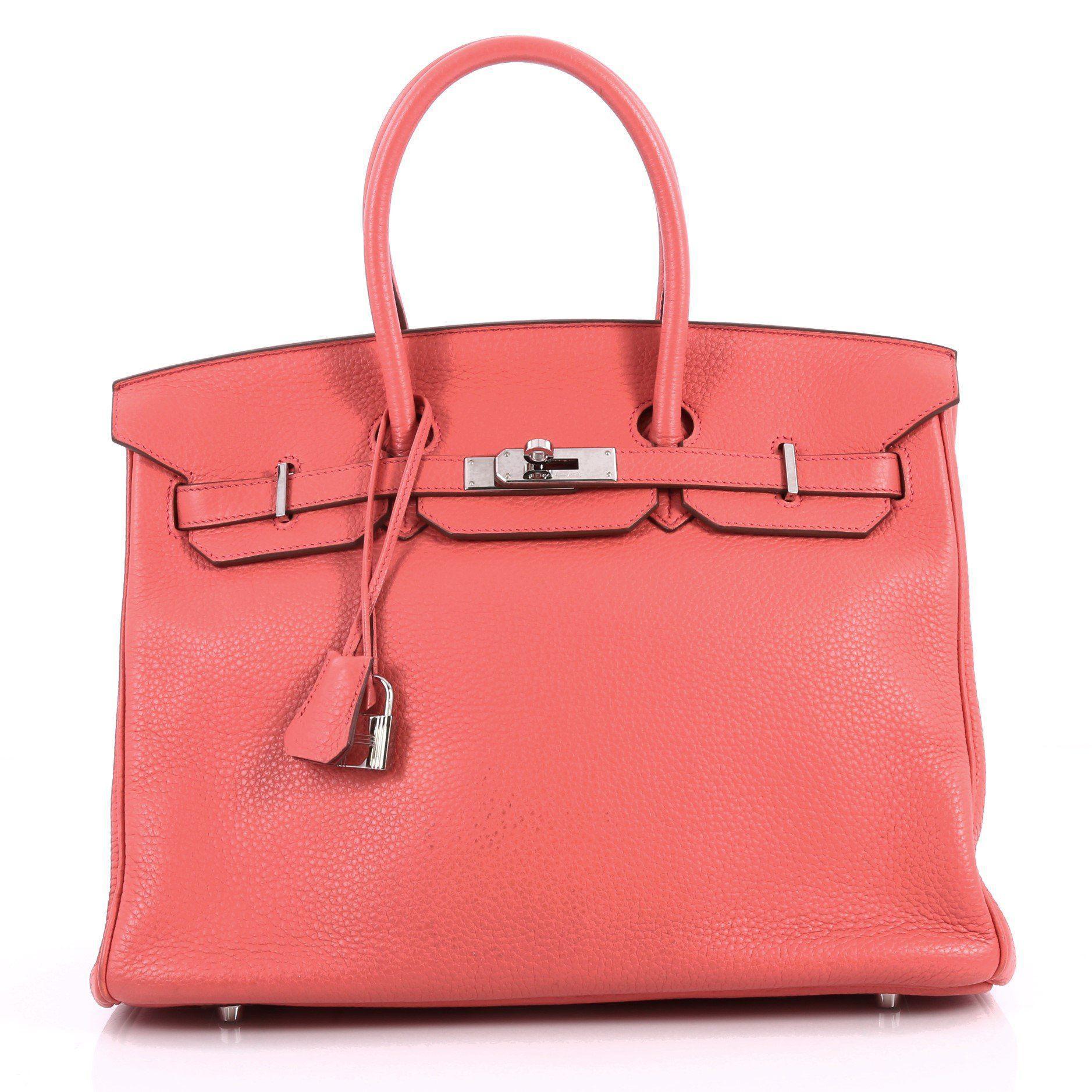 Hermès. Women s Pink Pre Owned Birkin Handbag Bougainvillea Clemence With Palladium  Hardware 35 9c0c441dcd500