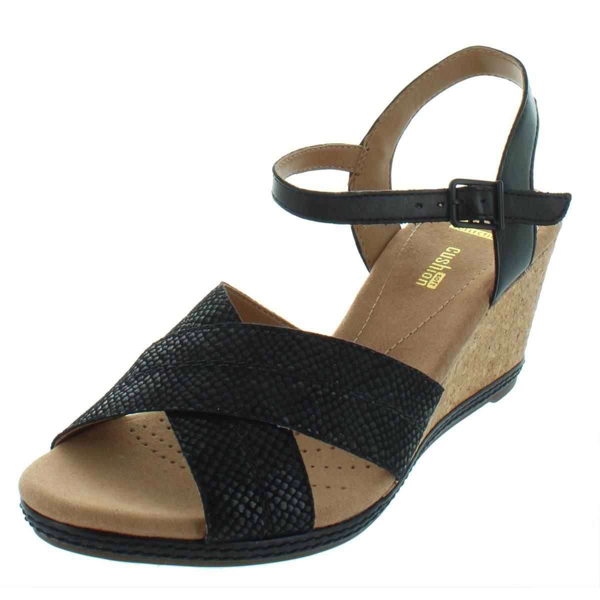 b31c14fc5 Lyst - Clarks Womens Latitude Suede Snake Pattern Wedge Heels in Black
