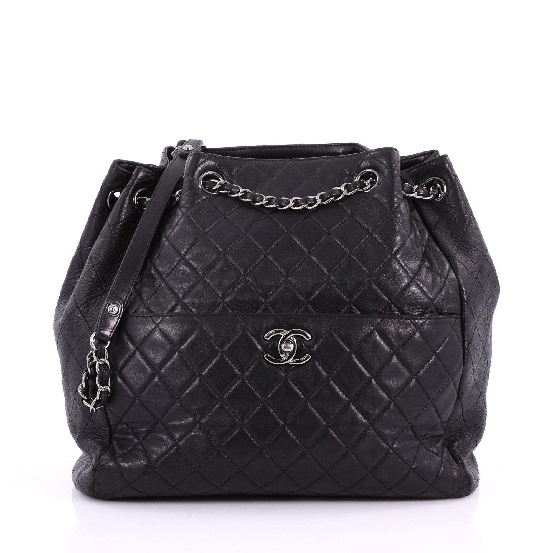 4a6bbca36c57 Lyst - Chanel Pre Owned Drawstring Cc Lock Bucket Bag Quilted ...