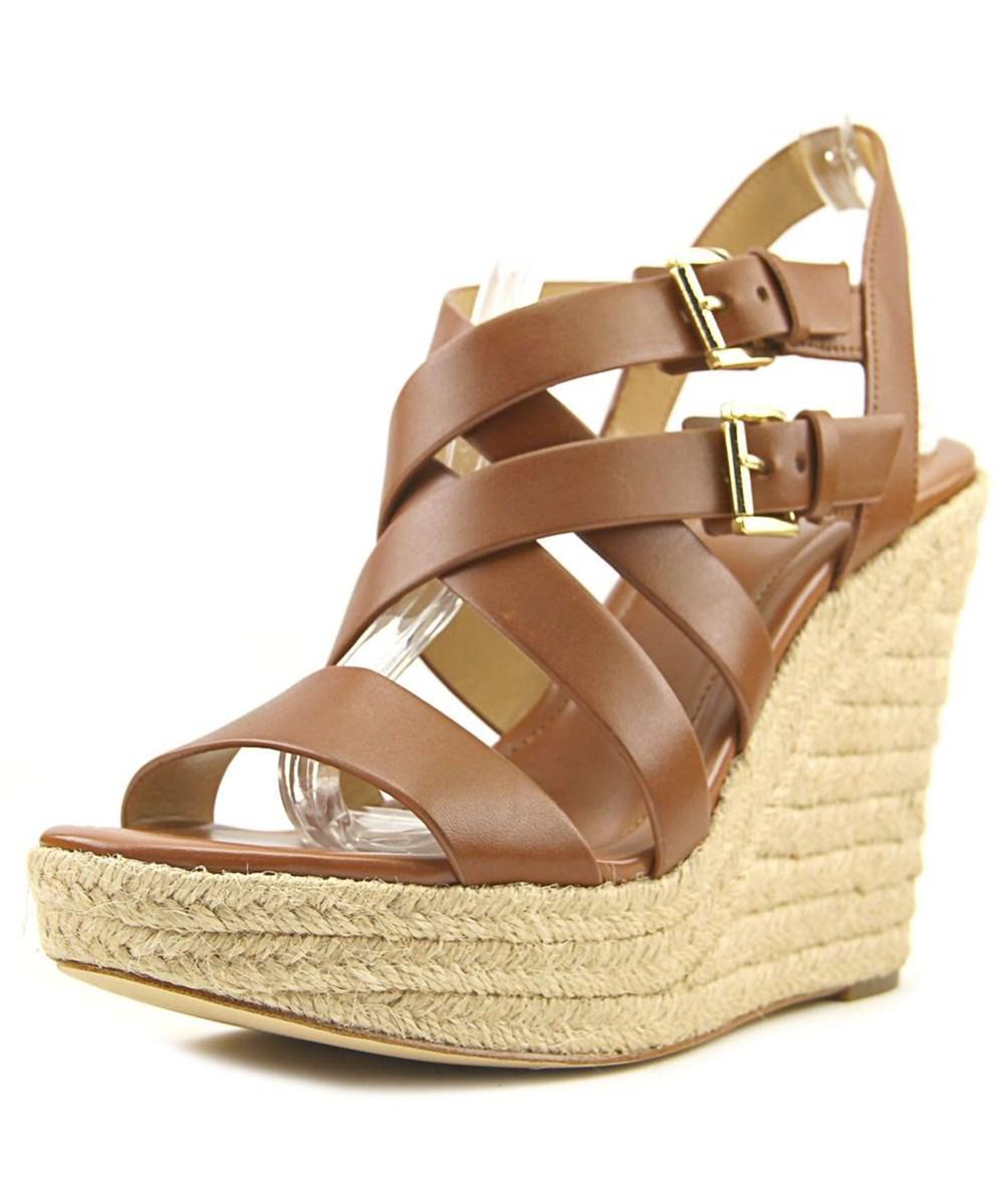 929389f736f Lyst - Michael Michael Kors Jocelyn Wedge Open Toe Leather Wedge Sandal