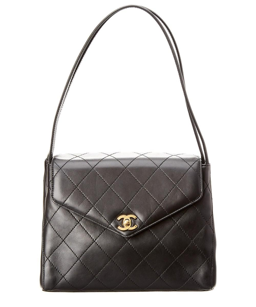 Lyst - Chanel Black Quilted Lambskin Leather Envelope Flap Bag in Black 2735fee81022a