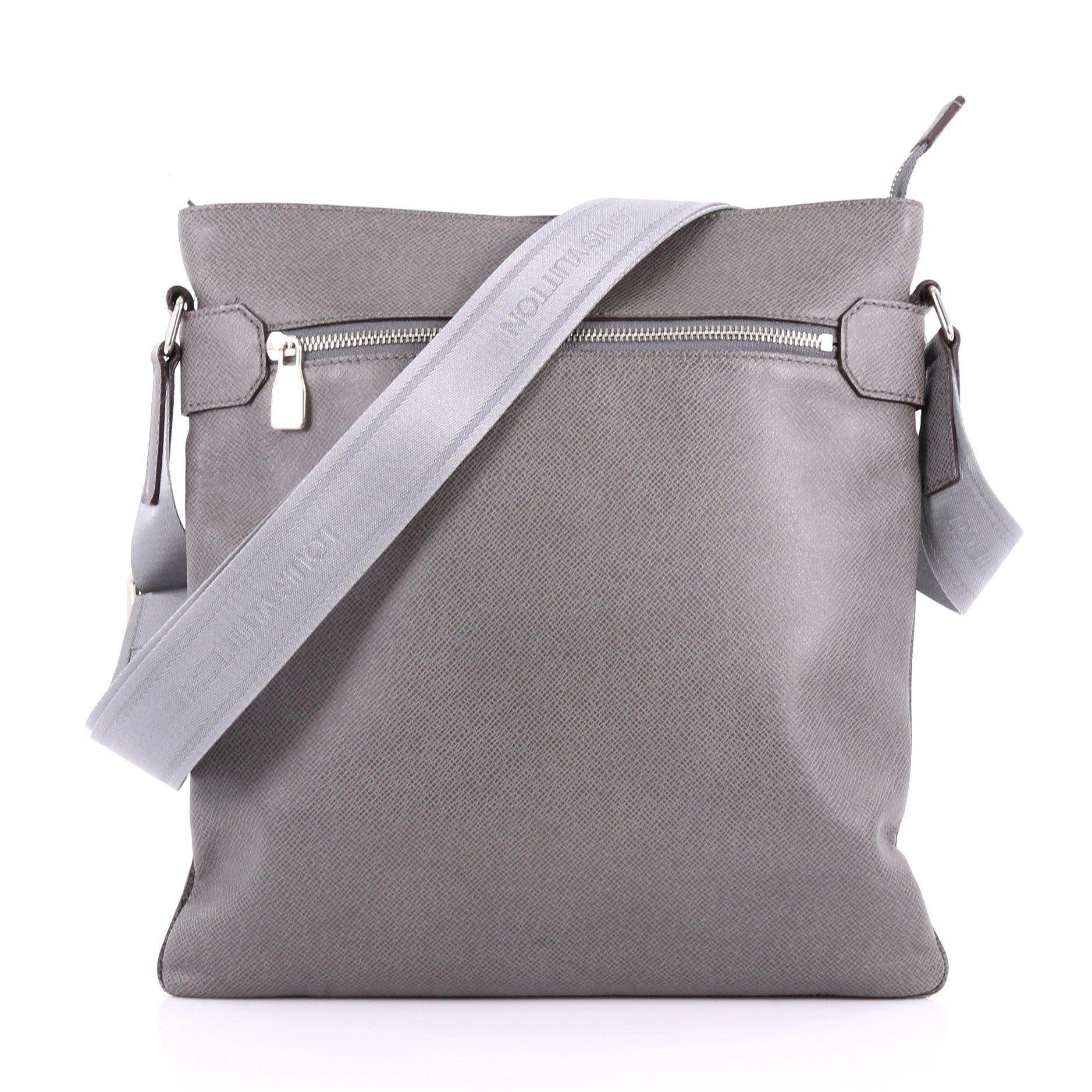 Lyst - Louis Vuitton Pre Owned Sasha Handbag Taiga Leather in Gray eef82b08763c6
