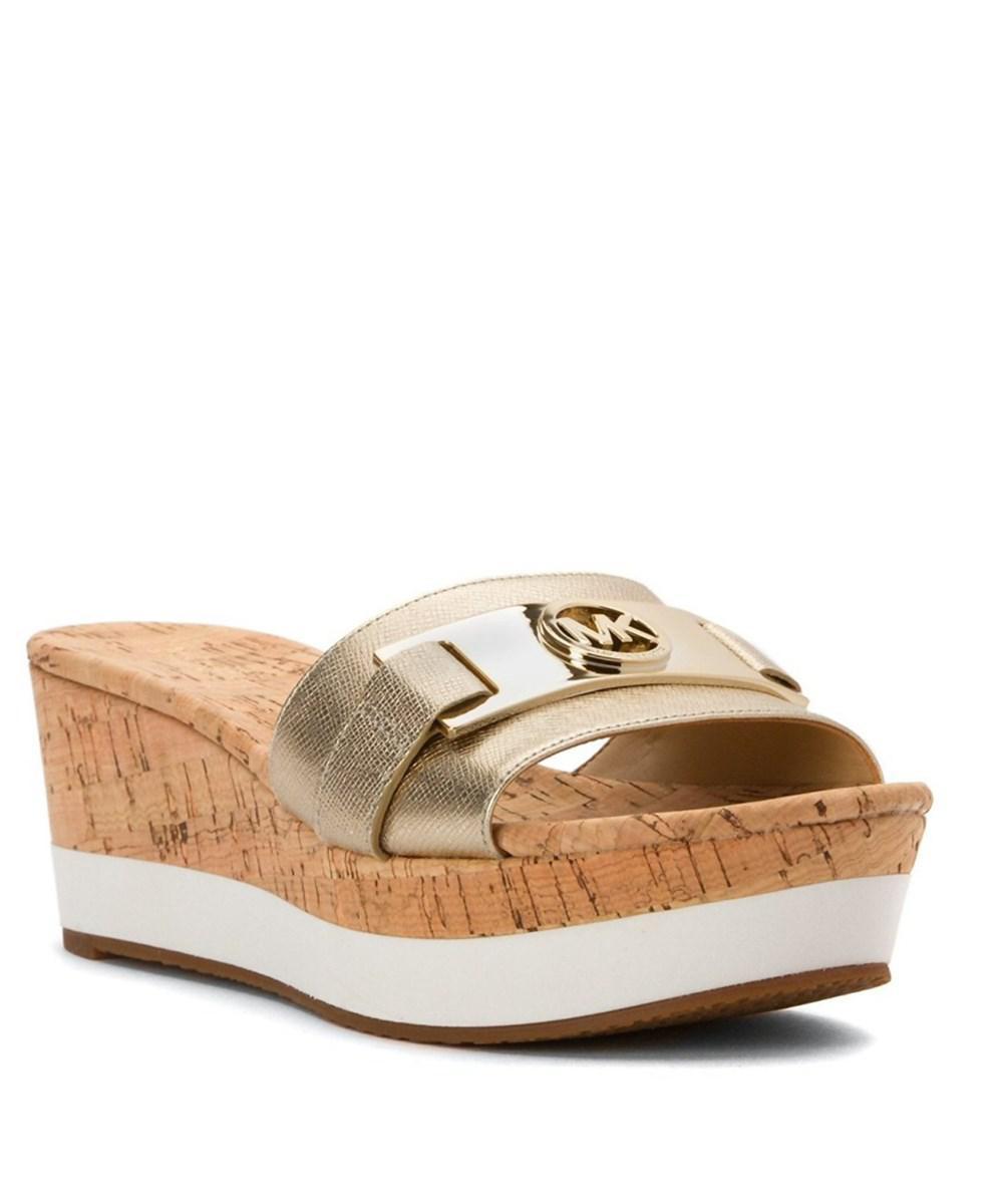 ea968b42593 Lyst - Michael Kors Warren Platform Sandals in Metallic
