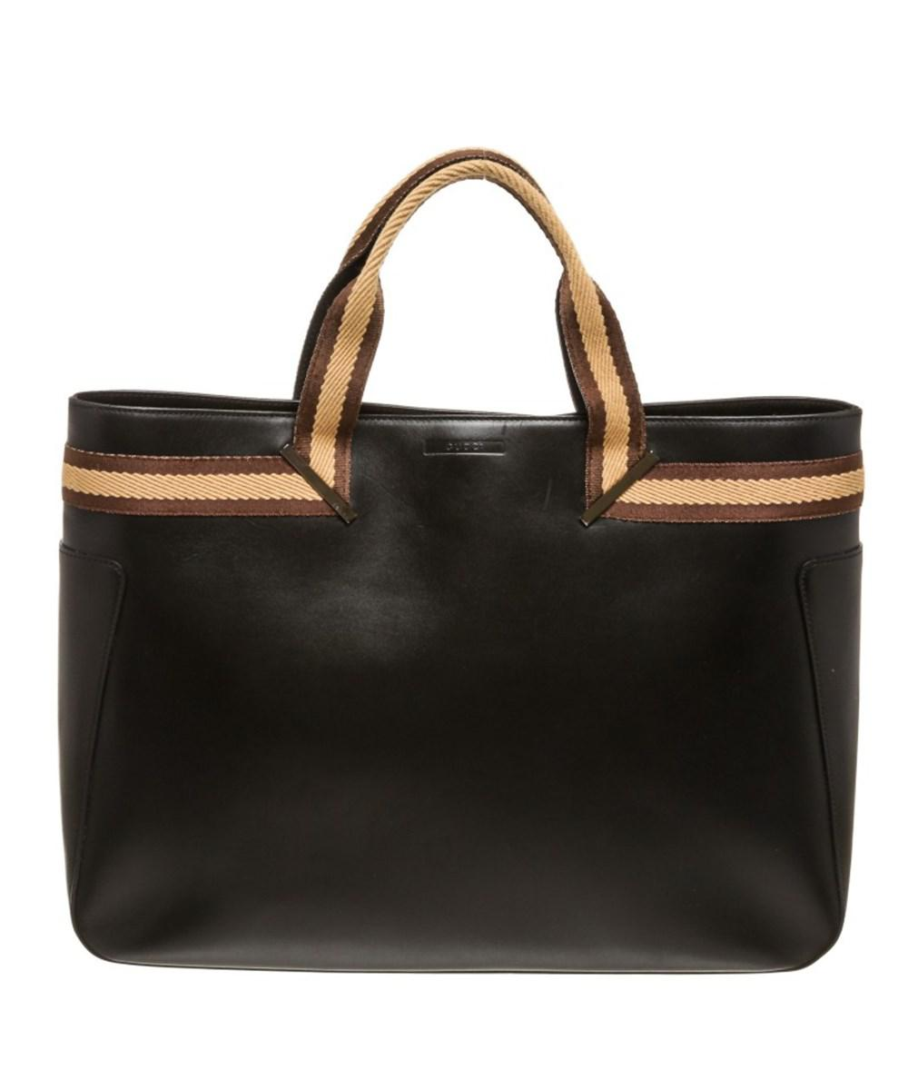 1edce829d8c Lyst - Gucci Pre Owned - Black Brown Leather Double Handle Tote Bag ...