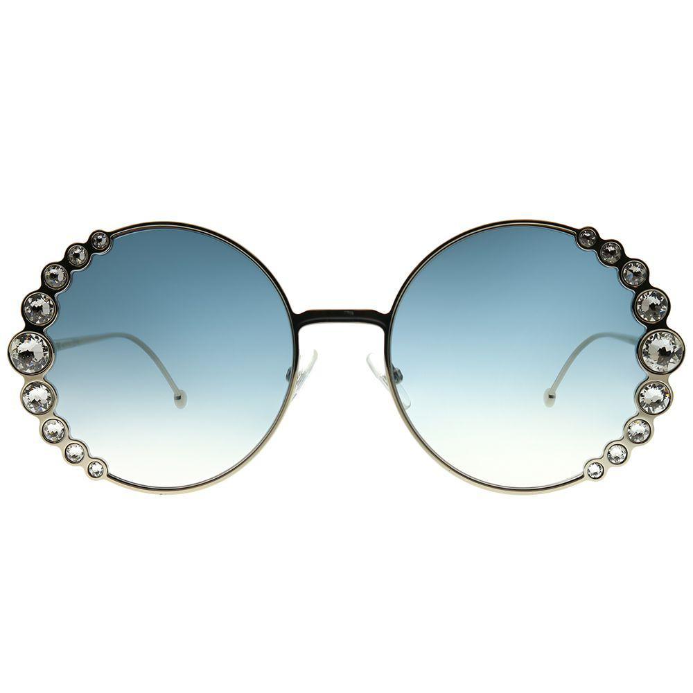 Fendi - Multicolor Ribbons And Crystals Ff 0324 3yg 08 Lgh Gold Round  Sunglasses - Lyst. View fullscreen 887b099149