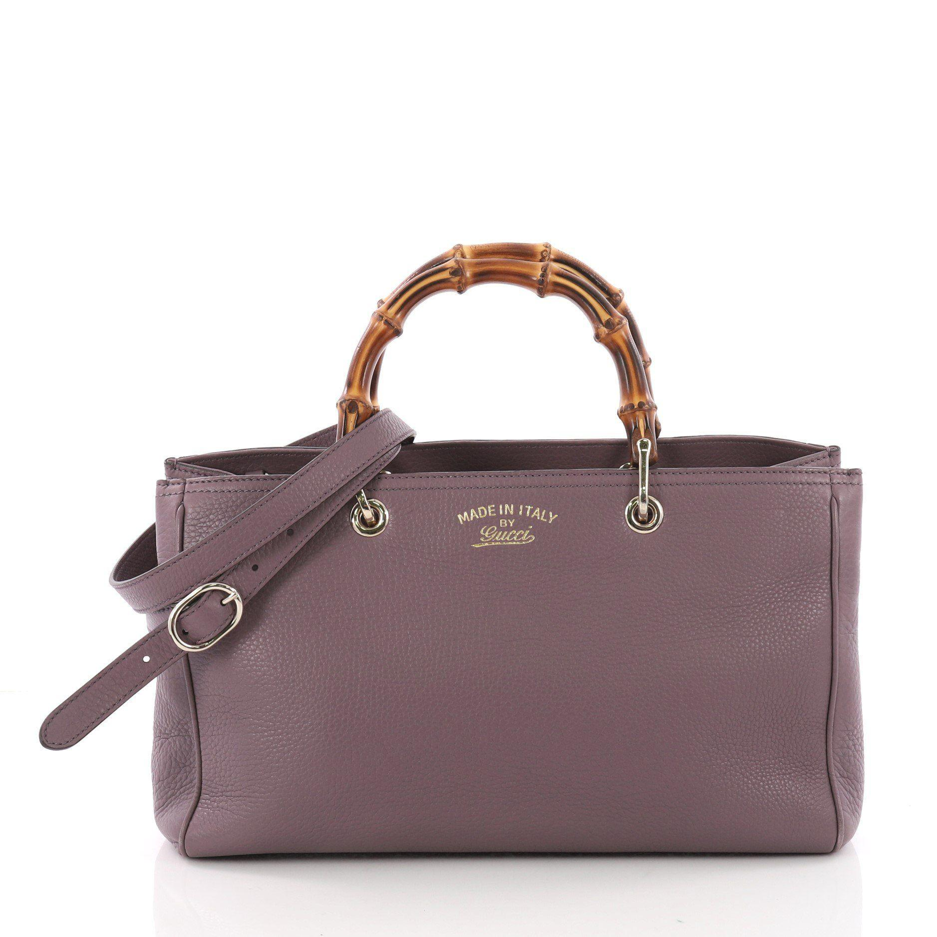 1bf19e8b870 Gucci - Purple Pre Owned Bamboo Shopper Tote Leather Medium - Lyst. View  fullscreen