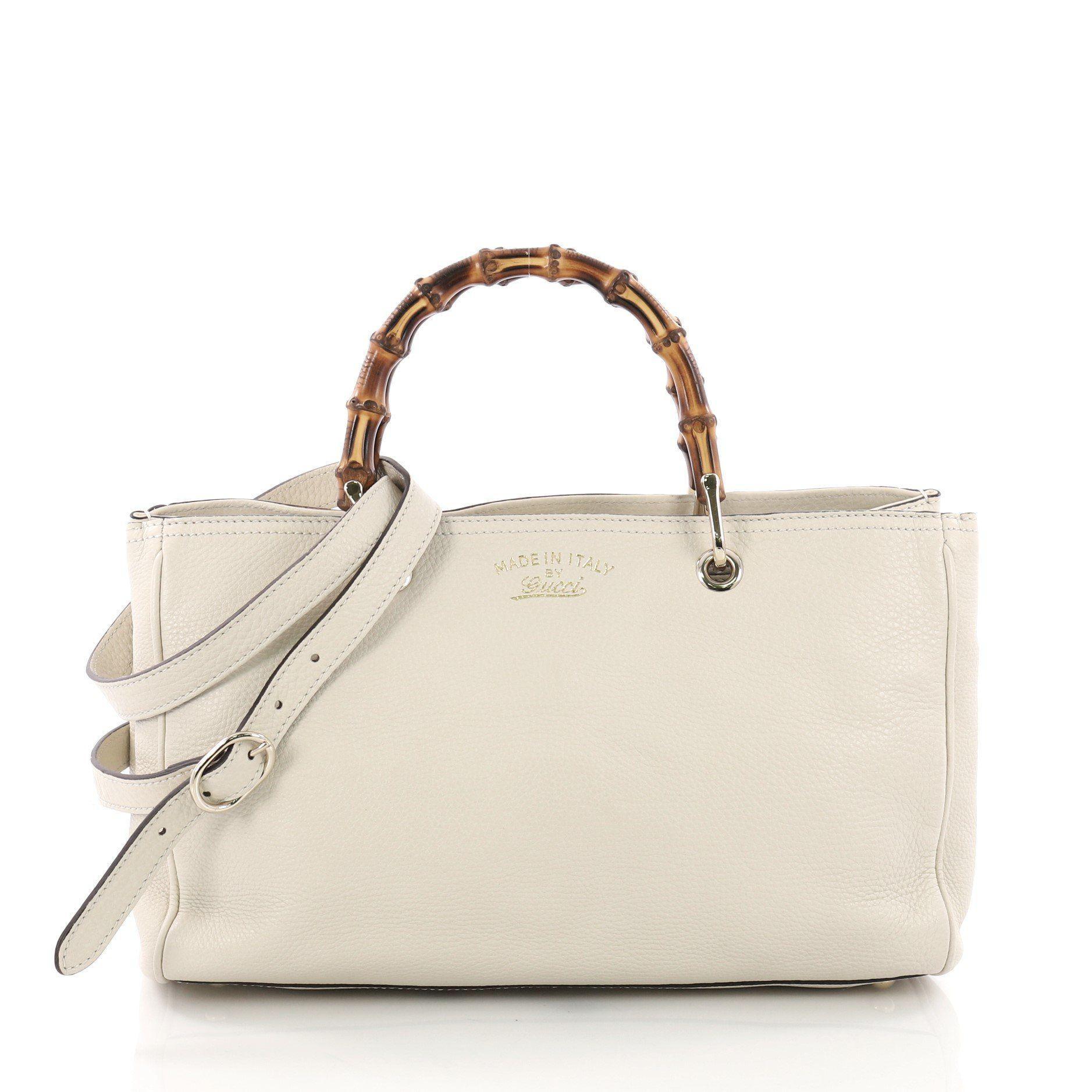 4e86a7d28c1e Lyst - Gucci Pre Owned Bamboo Shopper Tote Leather Medium in Natural