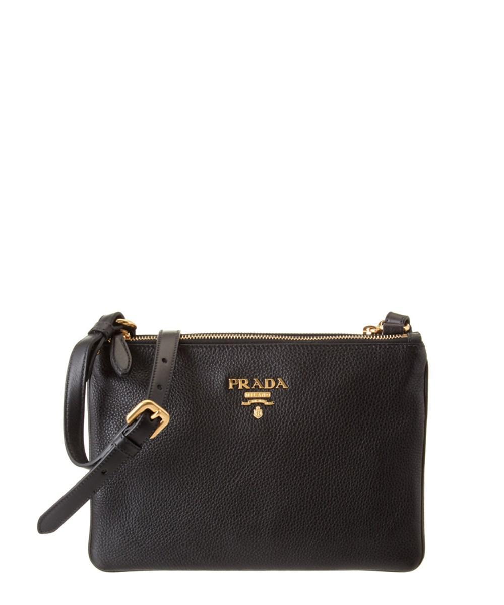 1cd40cd246f7 ... get lyst prada calf leather double compartment shoulder bag in black  c5a92 6ec33 ...
