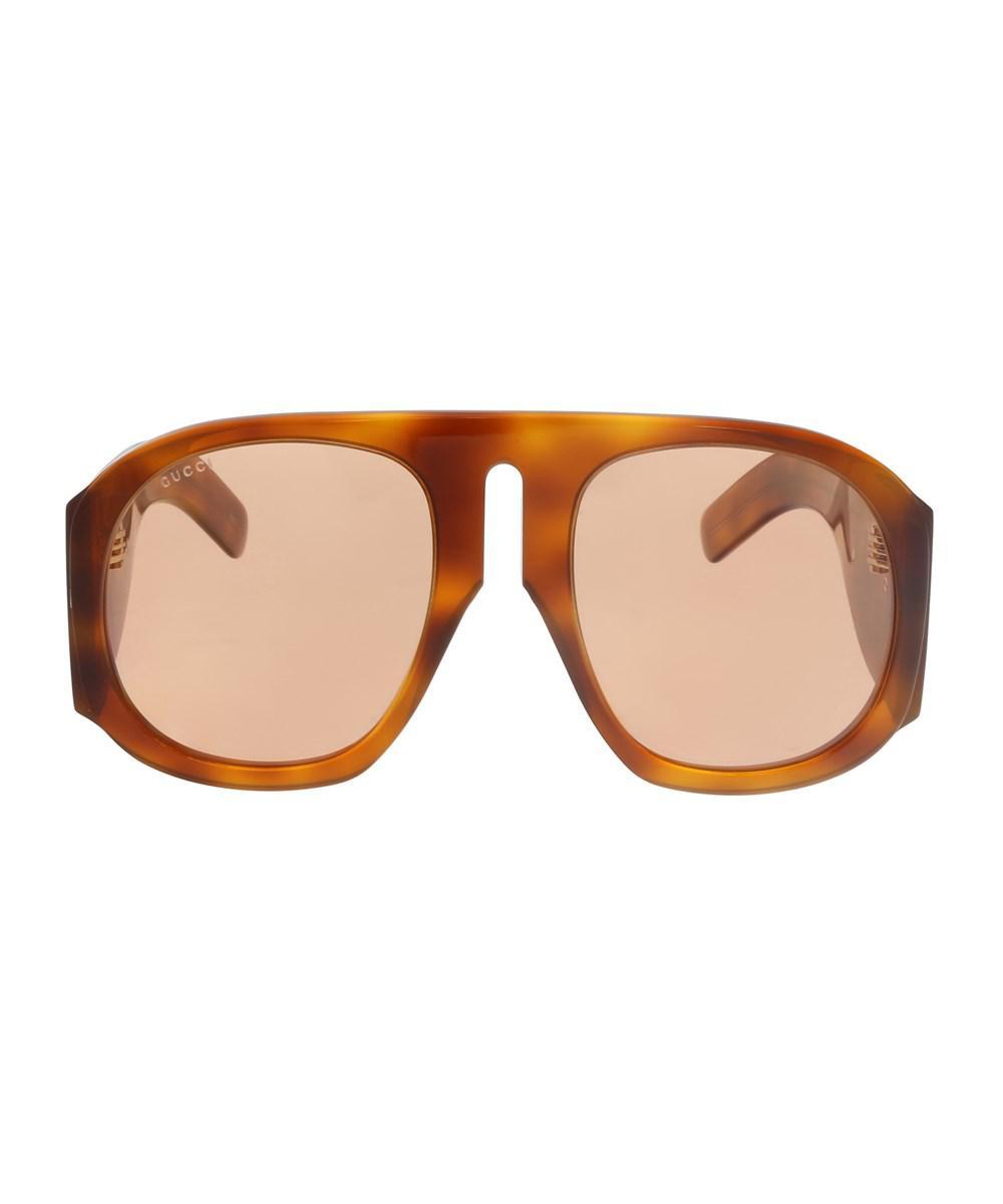 12dd01e4be Lyst - Gucci Gg0152s 005 Havana  Yellow Oversized Sunglasses in Brown