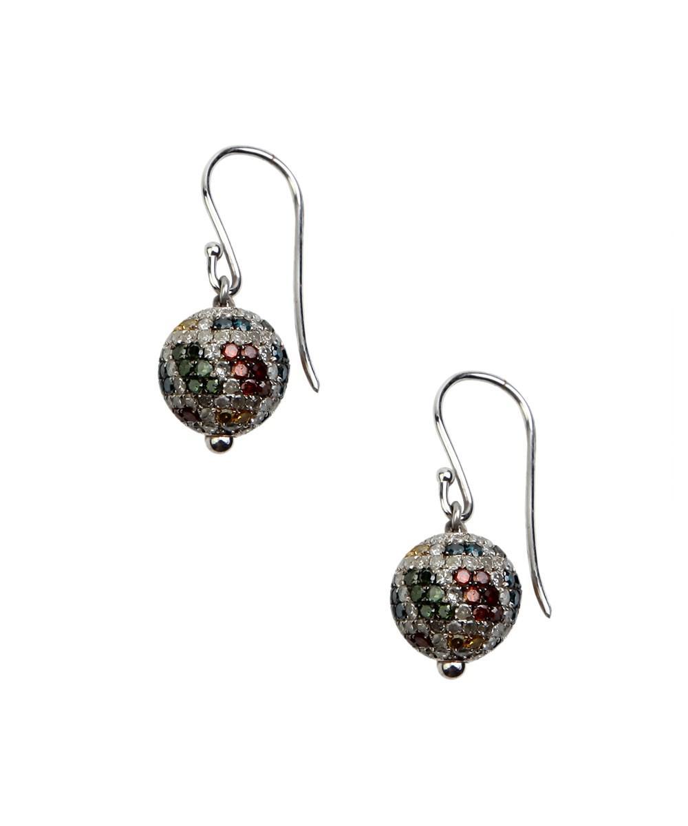 Socheec Multi-Colored Diamond Ball Earrings ZMjLUlyri