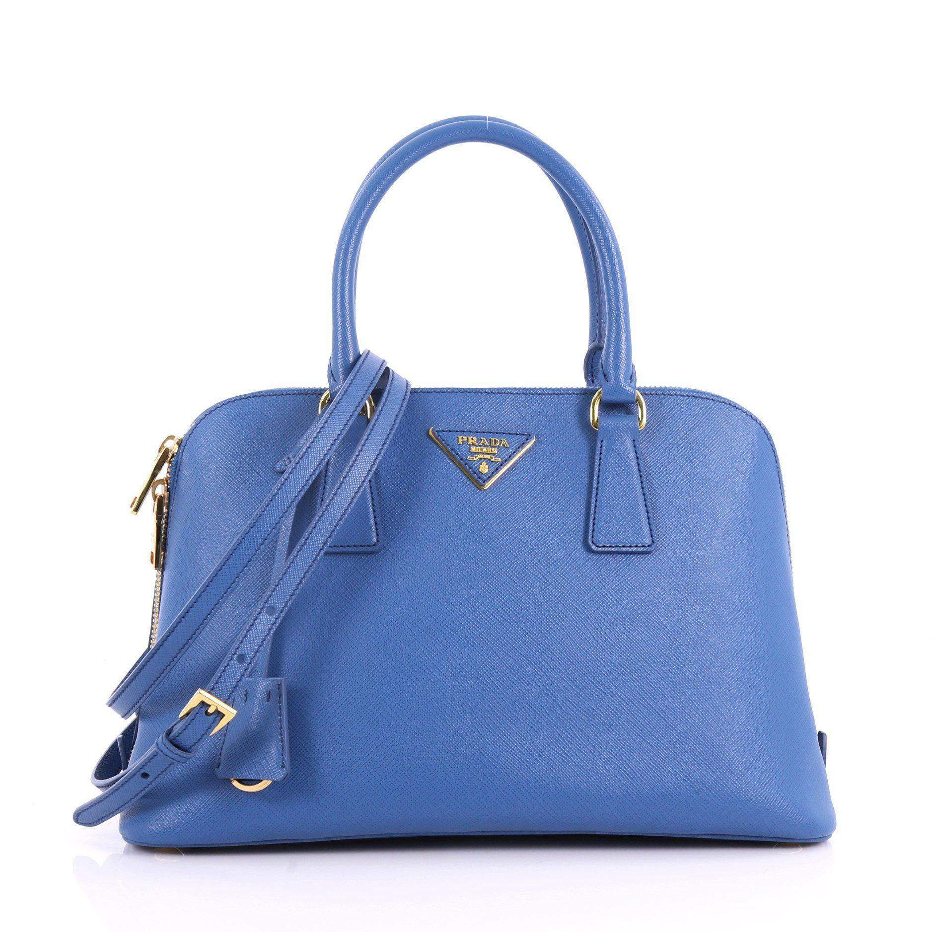 697b8672a32a Lyst - Prada Pre Owned Promenade Handbag Saffiano Leather Medium in Blue