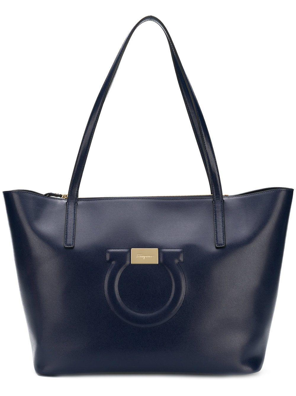 e366a658232d Lyst - Ferragamo Women s Blue Leather Tote in Blue